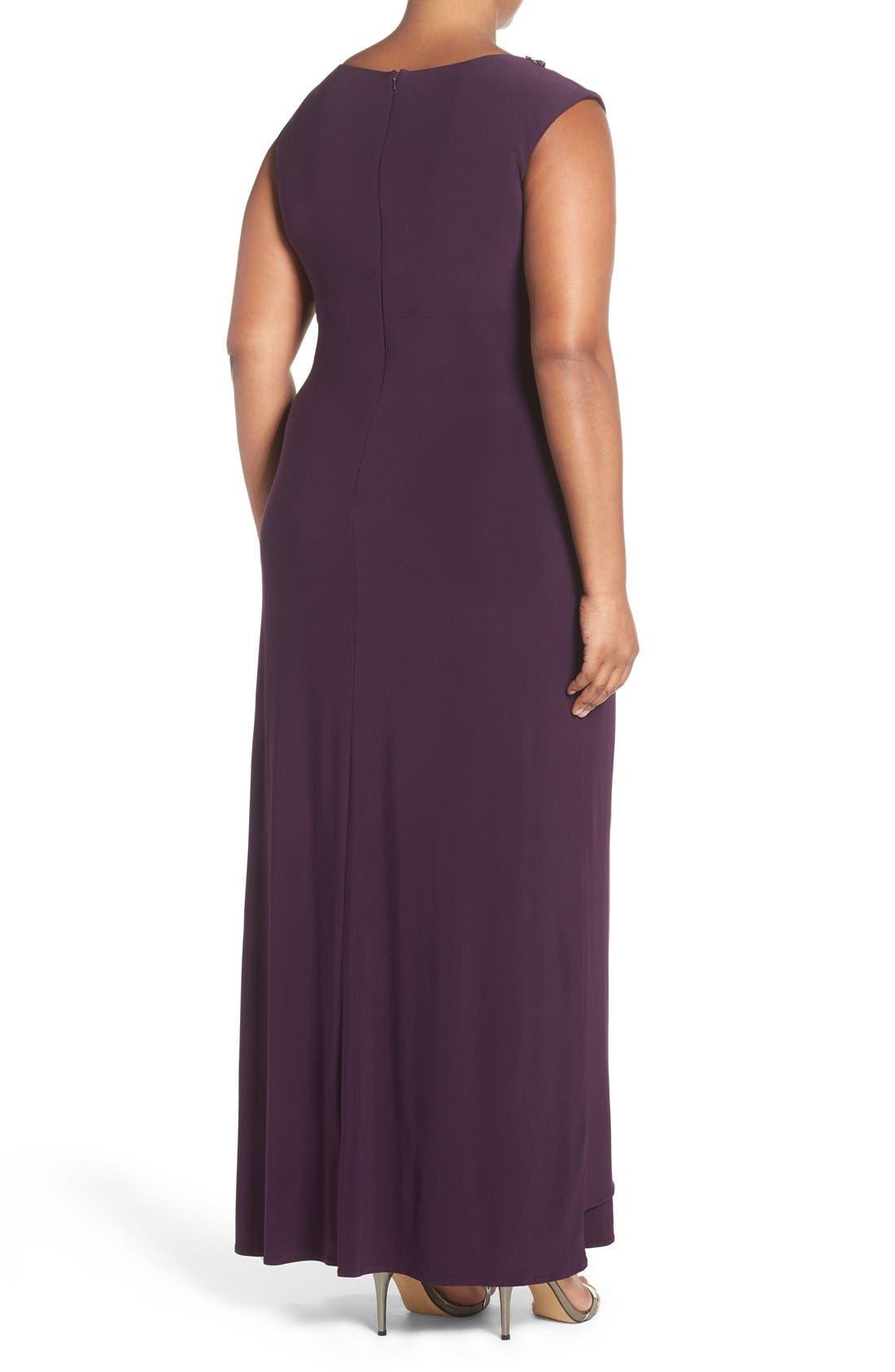 Embellished V-Neck Side Drape Jersey Gown,                             Alternate thumbnail 2, color,                             Eggplant