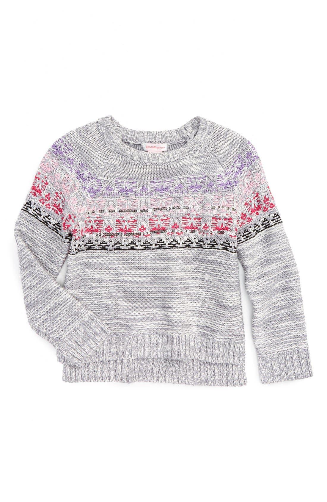 Alternate Image 1 Selected - Design History Embellished Knit Sweater (Toddler Girls & Little Girls)