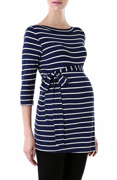 822e804c7c9aea Kimi and Kai  Whitney  Stripe Belted Maternity Top