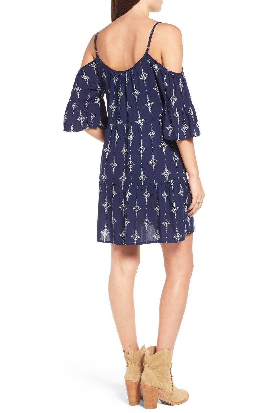 Alternate Image 2  - Mimi Chica Print Cold Shoulder Trapeze Dress