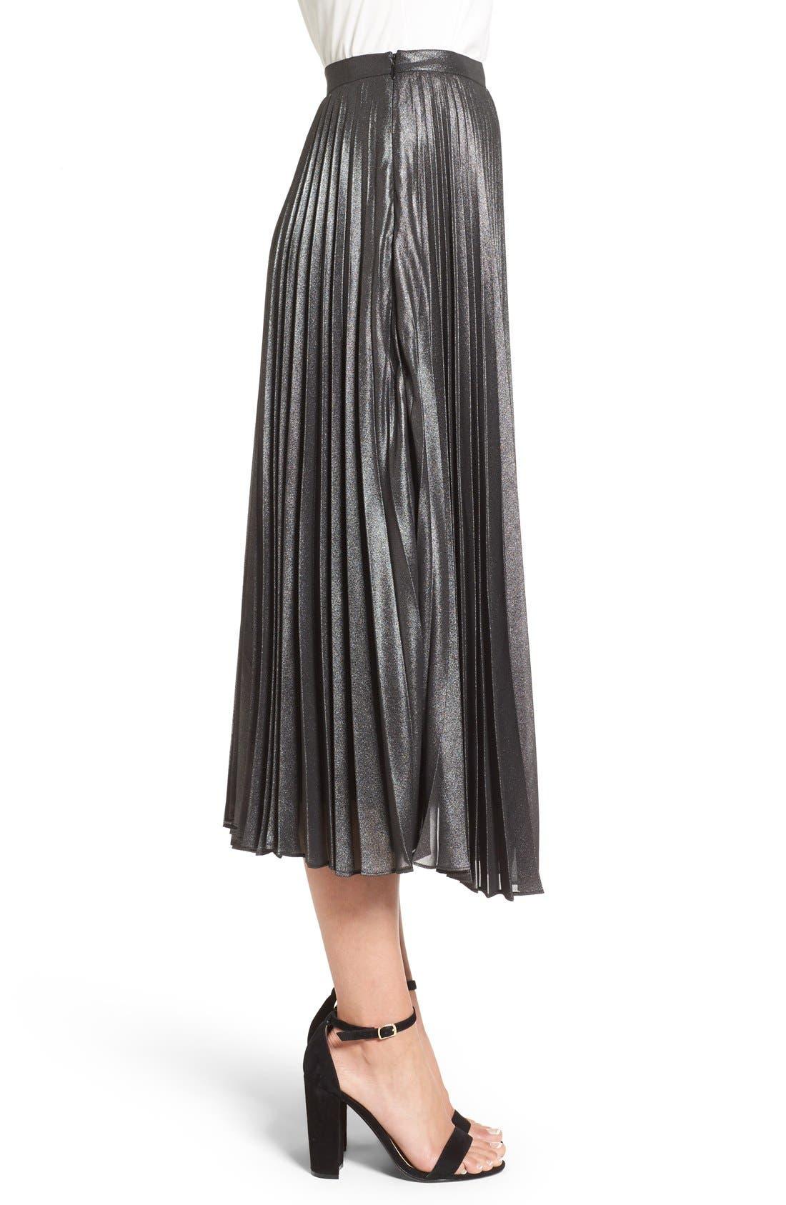 Alternate Image 3  - Halogen® Pleated Lurex® Midi Skirt (Regular & Petite)