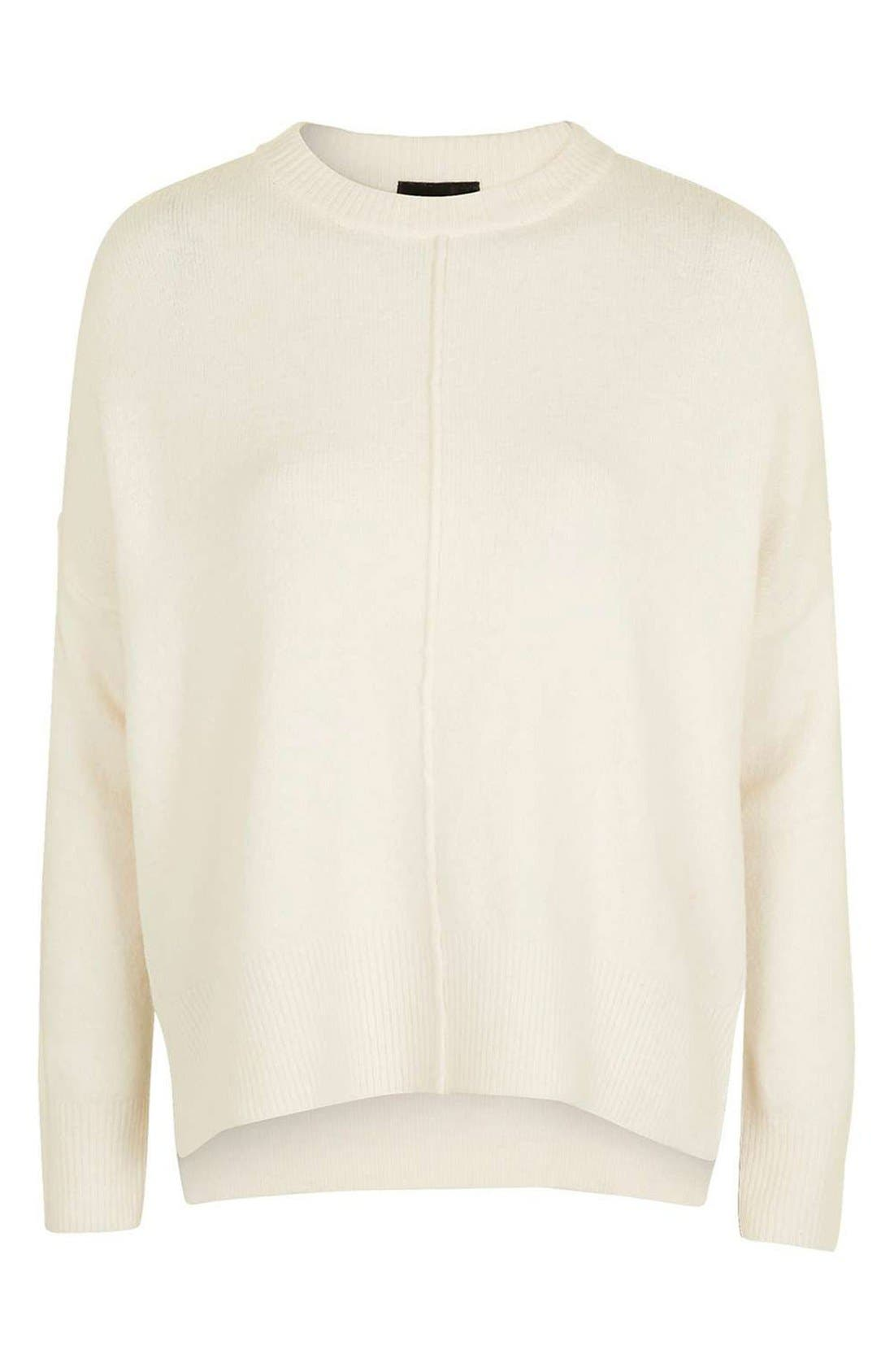 Zip Side Sweater,                             Alternate thumbnail 4, color,                             Cream