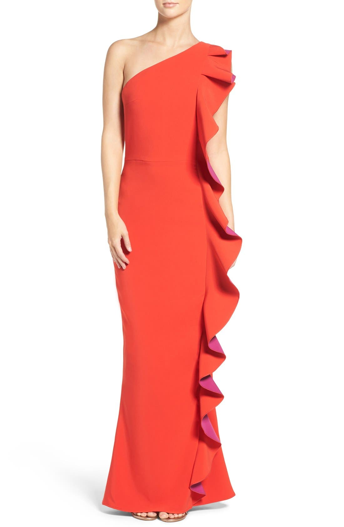 Main Image - Maria Bianca Nero Colorblock Ruffle One-Shoulder Gown