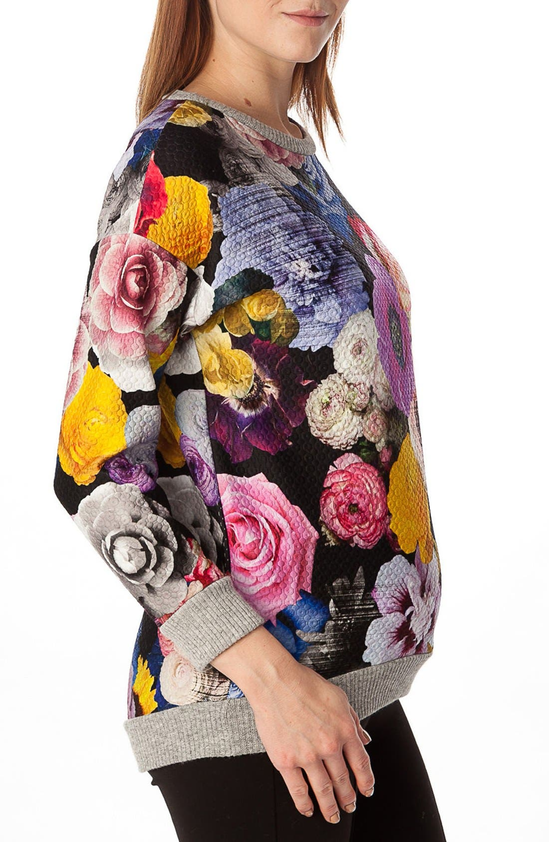 'Ocean' Floral Print Quilted Maternity Sweatshirt,                             Alternate thumbnail 3, color,                             Collage Of Flowers