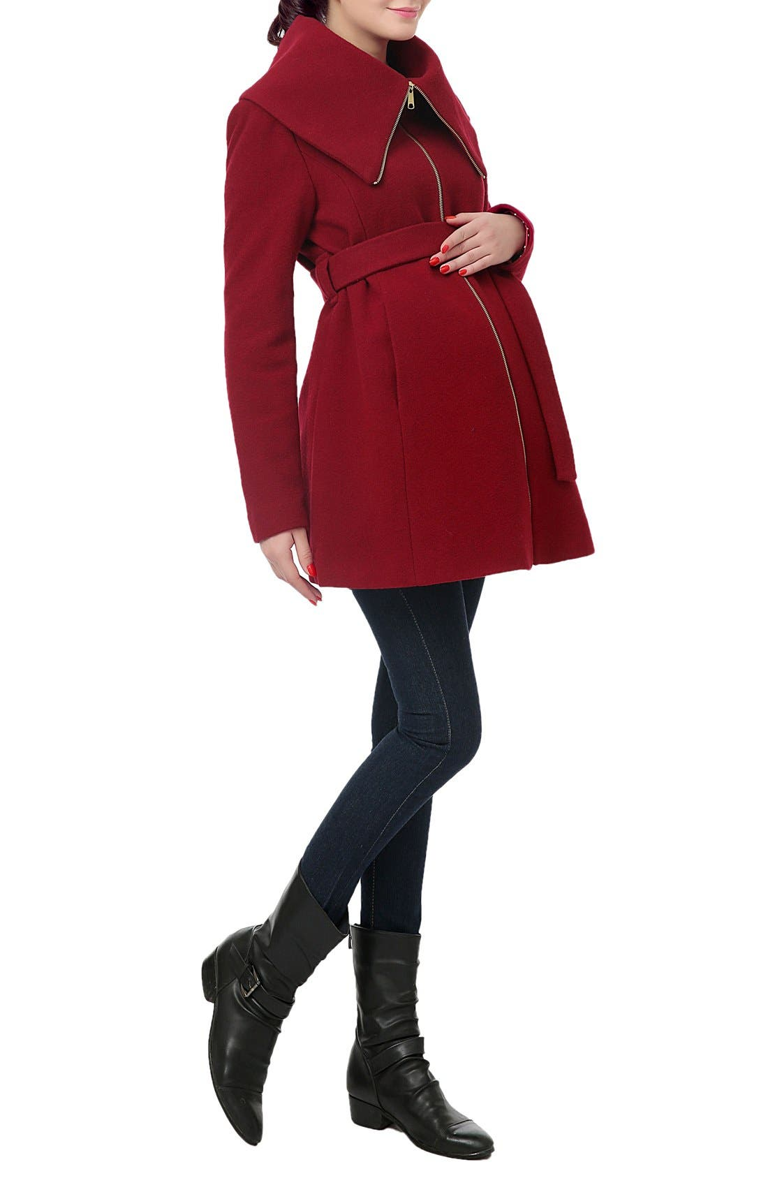 'Mia' High Collar Maternity Coat,                             Alternate thumbnail 3, color,                             Wine