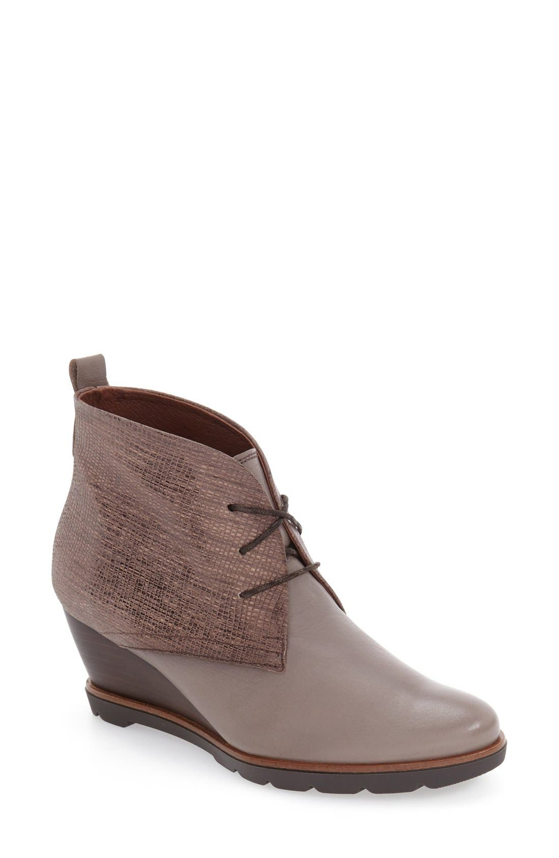 'Harmonie' Lace-Up Wedge Bootie,                             Main thumbnail 1, color,                             Brown Leather
