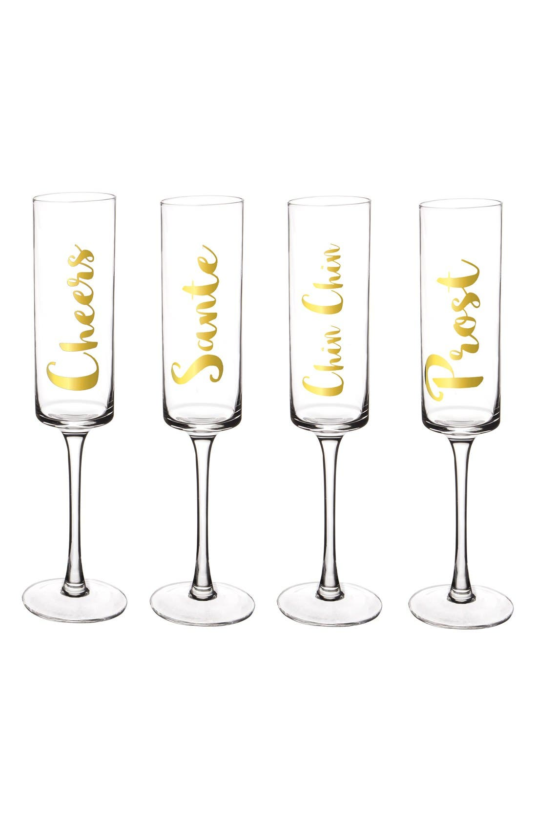 'Cheers' Champagne Flutes,                             Alternate thumbnail 2, color,                             Gold