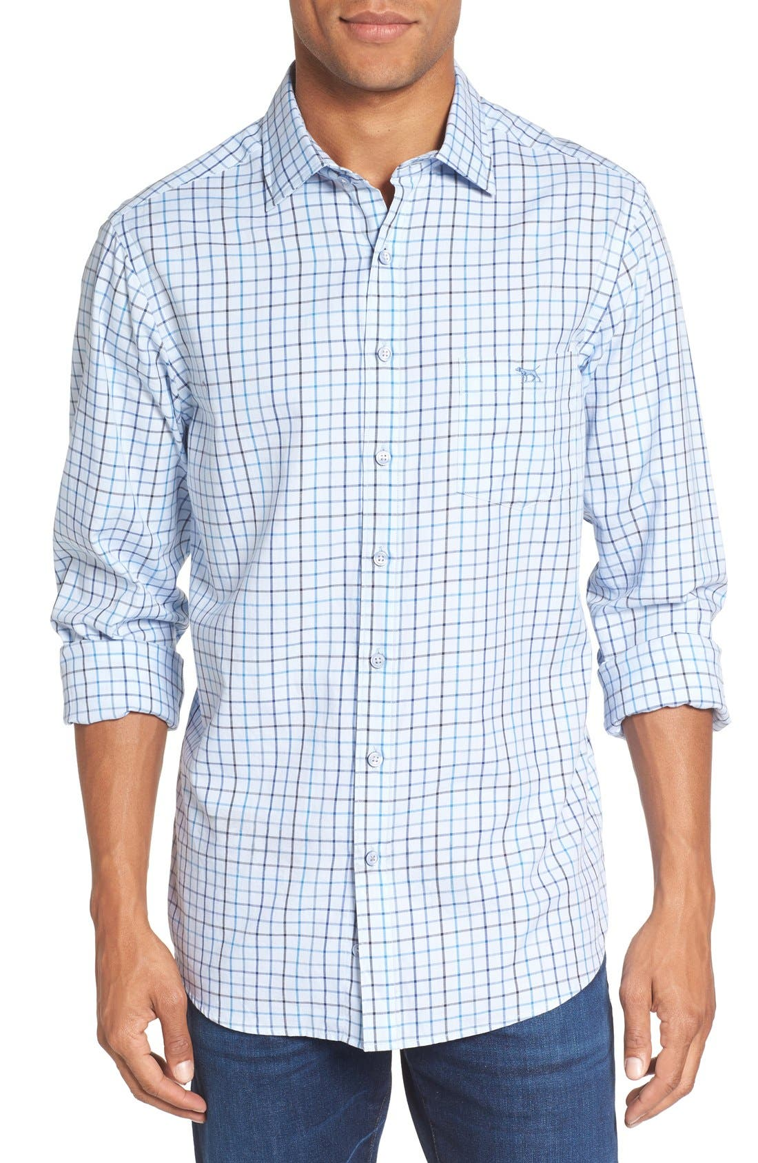 'Lyford' Sports Fit Check Sport Shirt,                         Main,                         color, Sky