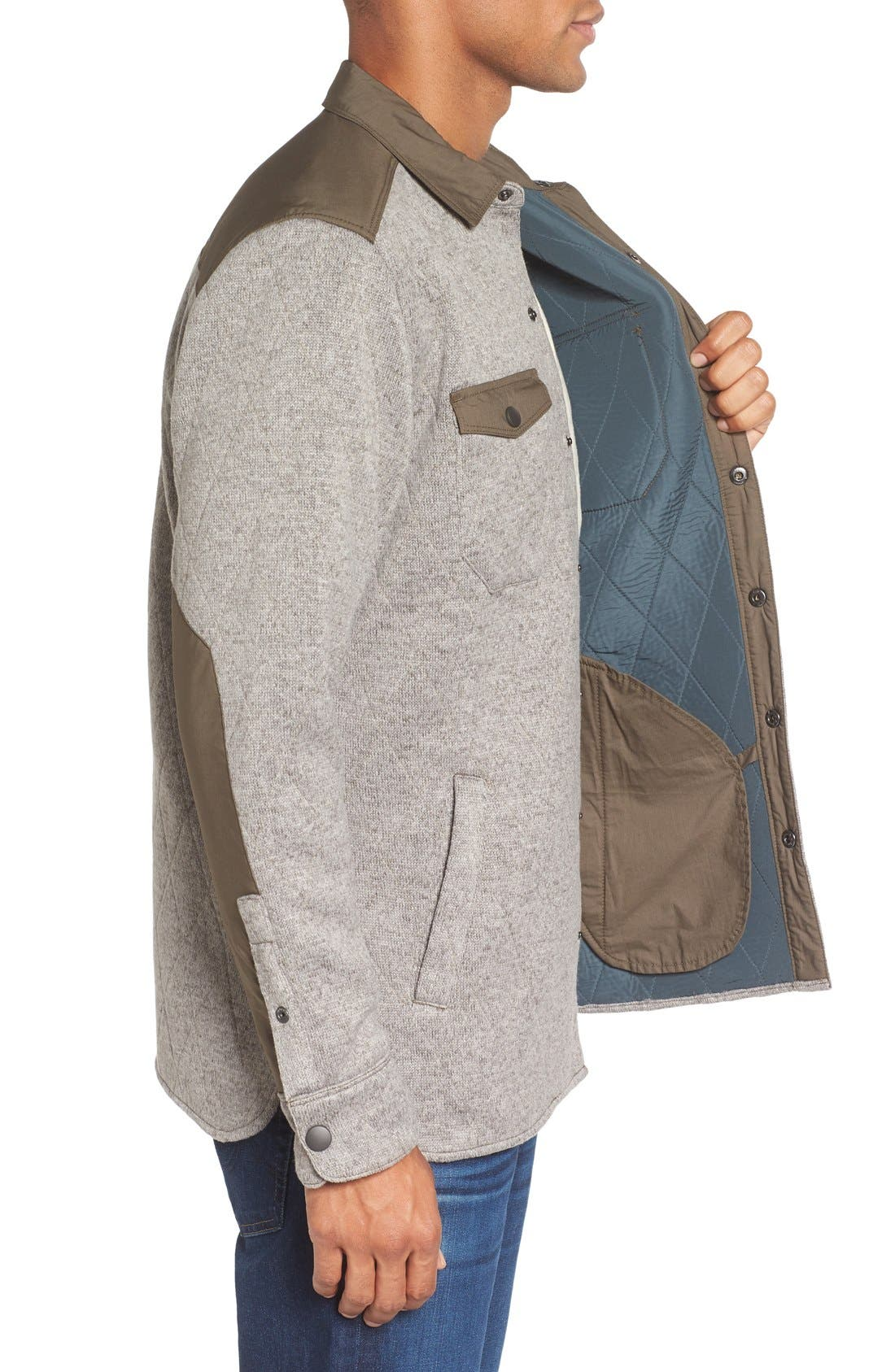 Quilted Fleece Shirt Jacket,                             Alternate thumbnail 3, color,                             Mule