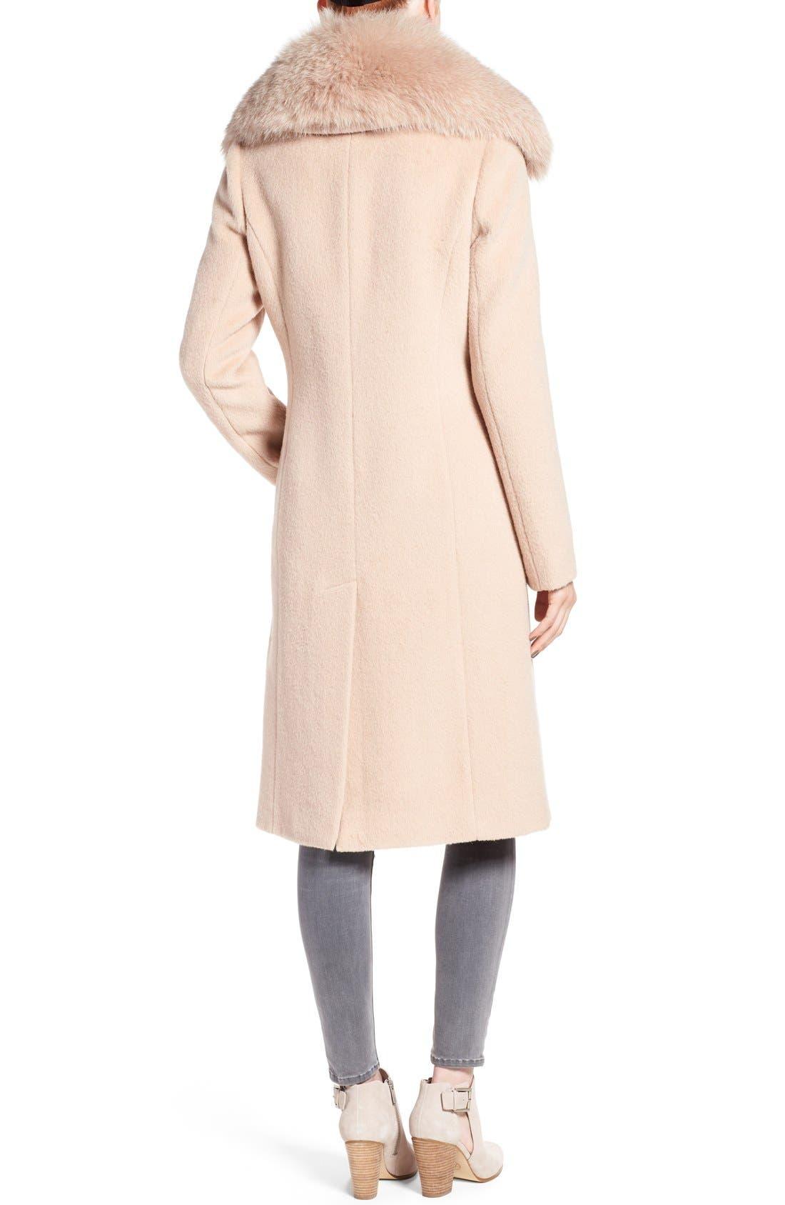 Alternate Image 2  - Diane von Furstenberg Genuine Fox Fur Trim Notch Collar Long Wool Blend Coat