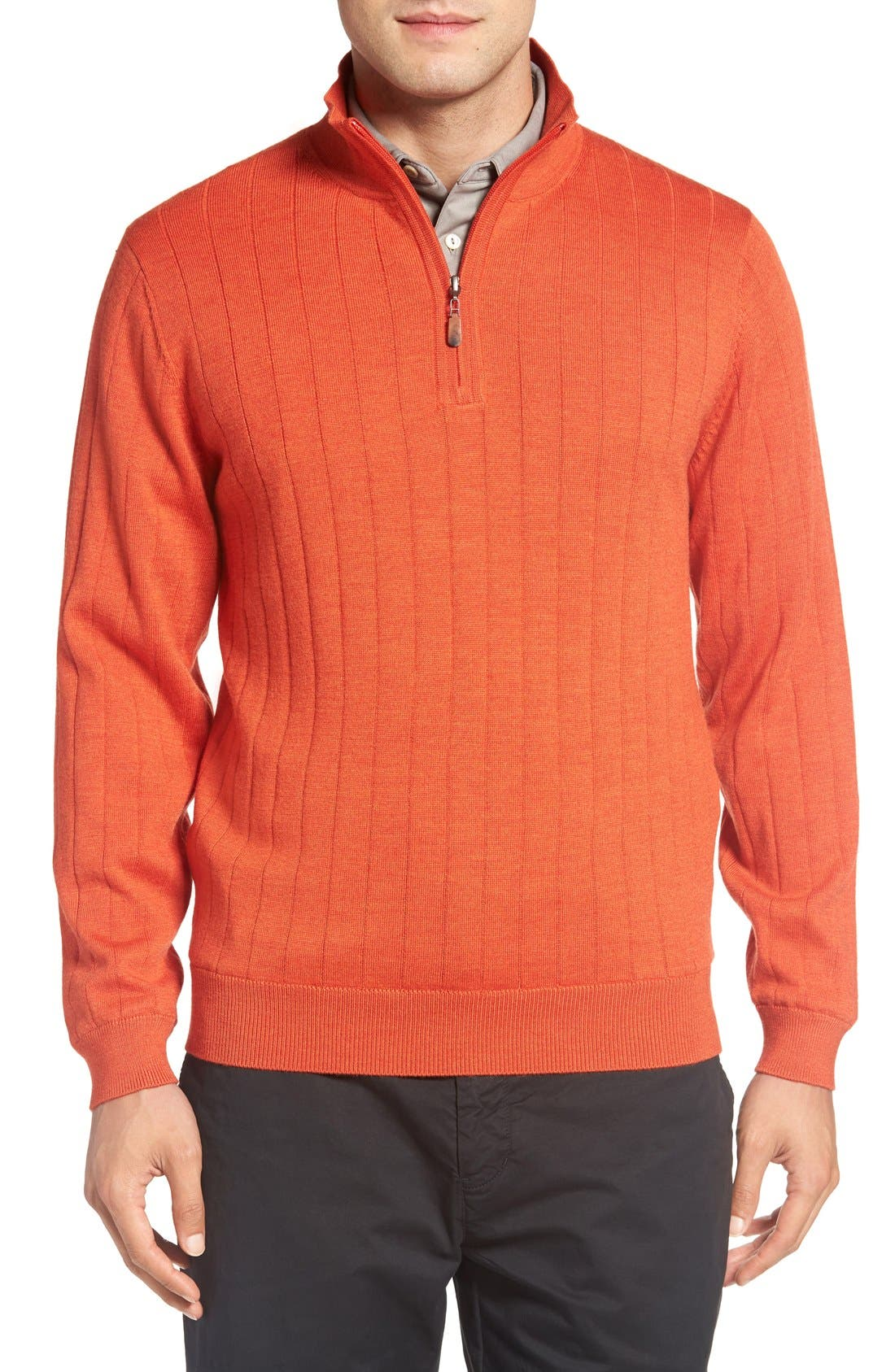 Alternate Image 1 Selected - Bobby Jones Windproof Merino Wool Quarter Zip Sweater