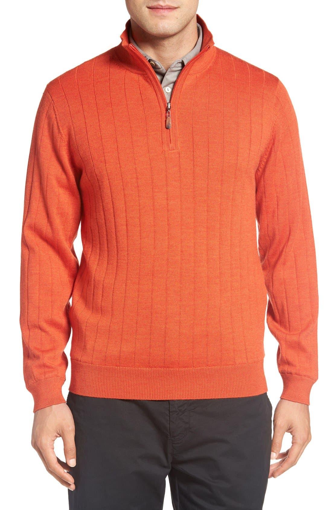 Windproof Merino Wool Quarter Zip Sweater,                         Main,                         color, Orange Tango