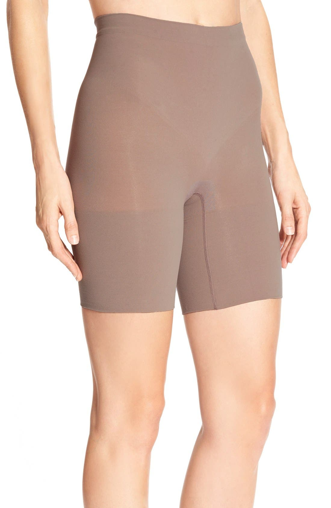 Power Short Mid Thigh Shaper,                             Main thumbnail 1, color,                             Taupe Tone