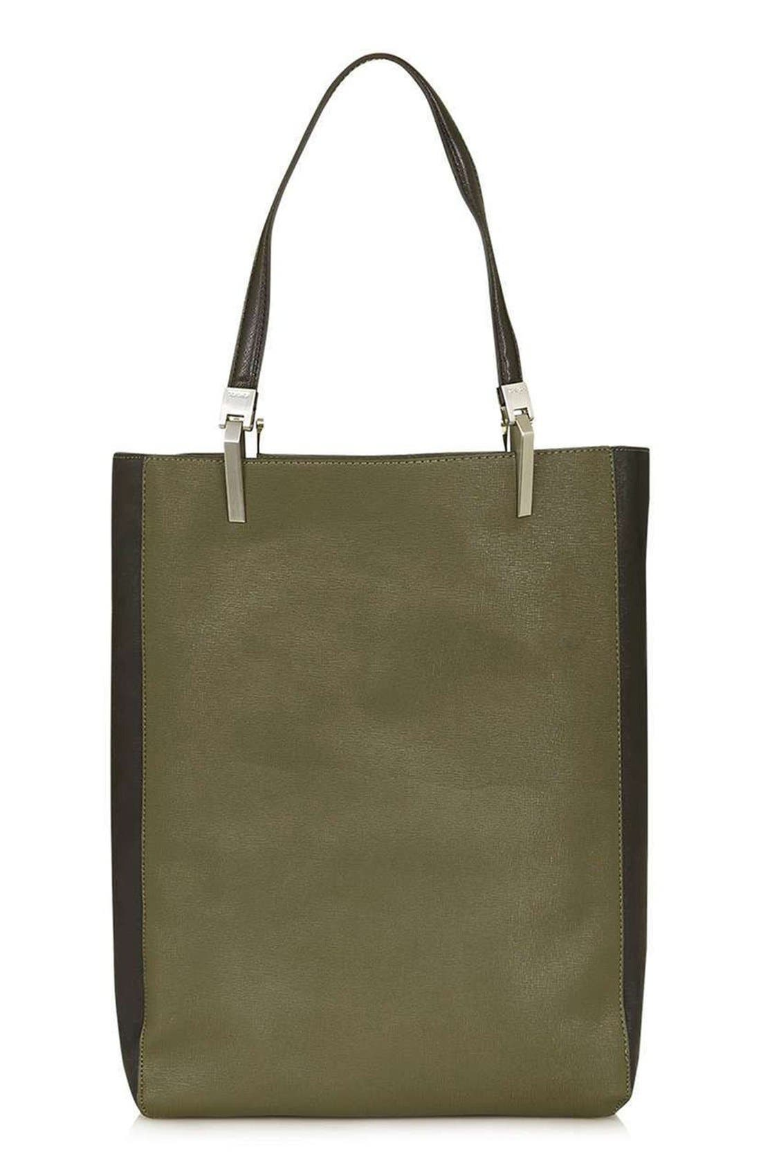 Alternate Image 1 Selected - Topshop 'Drake' Two-Tone Faux Leather Shopper