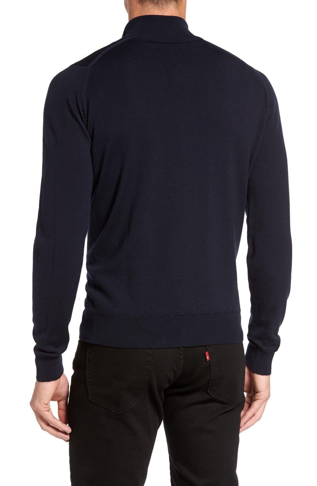 'Tapton' Quarter Zip Merino Wool Sweater,                             Alternate thumbnail 2, color,                             Midnight