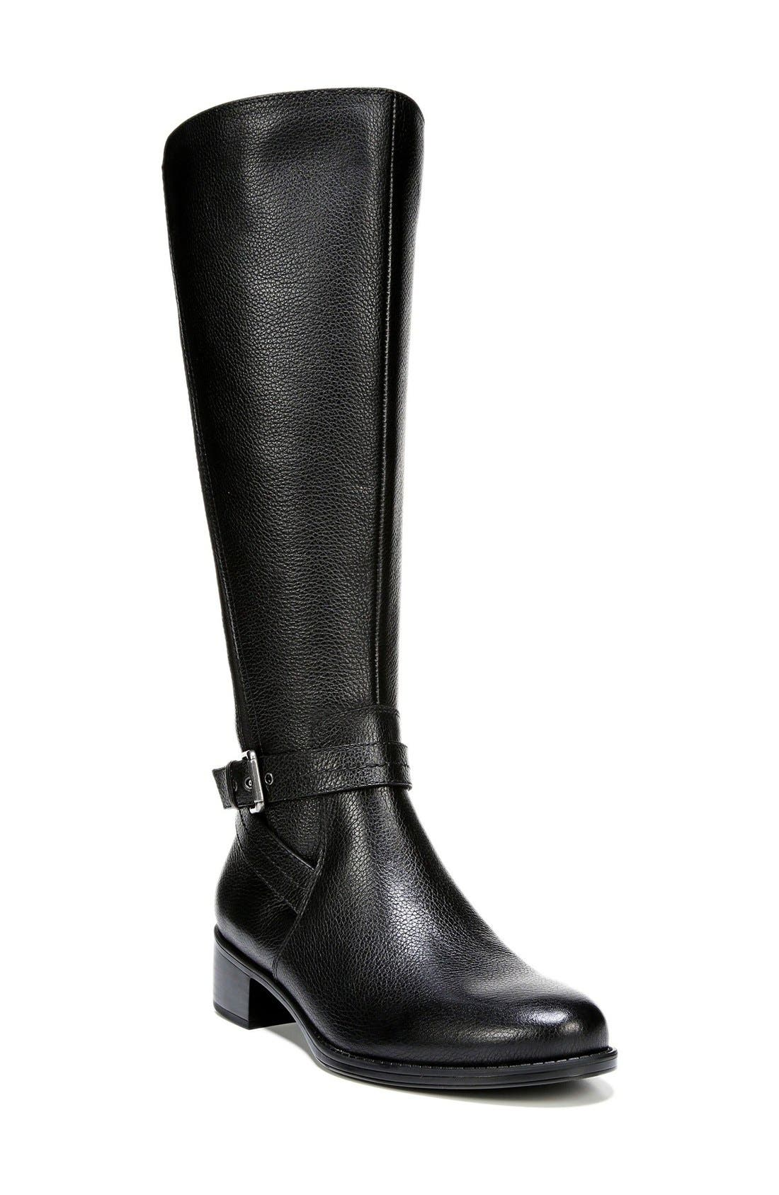 'Wynnie' Riding Boot,                             Main thumbnail 1, color,                             Black Leather