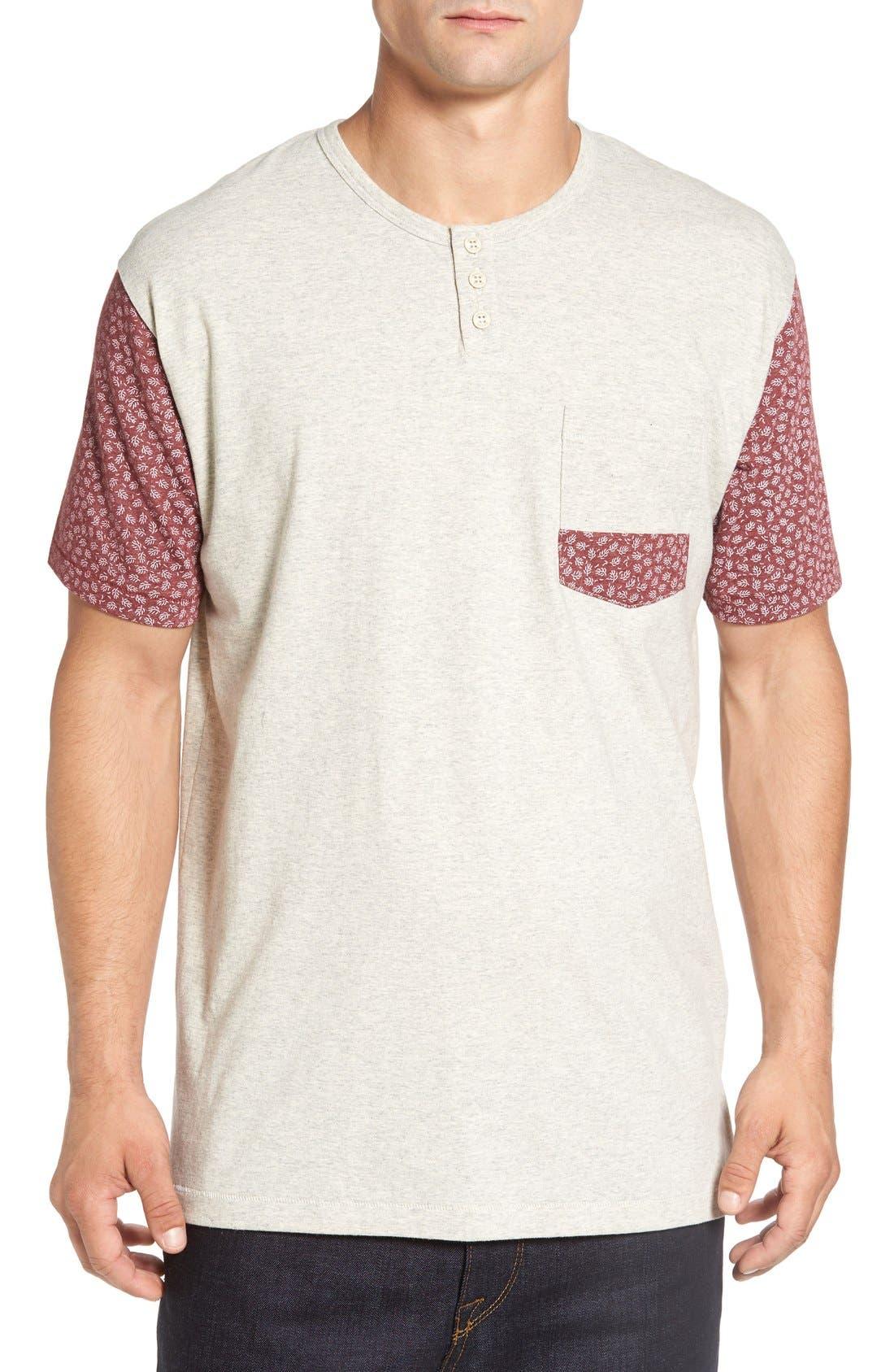 'Harper' Short Sleeve Pocket Henley T-Shirt,                         Main,                         color, Oatmeal