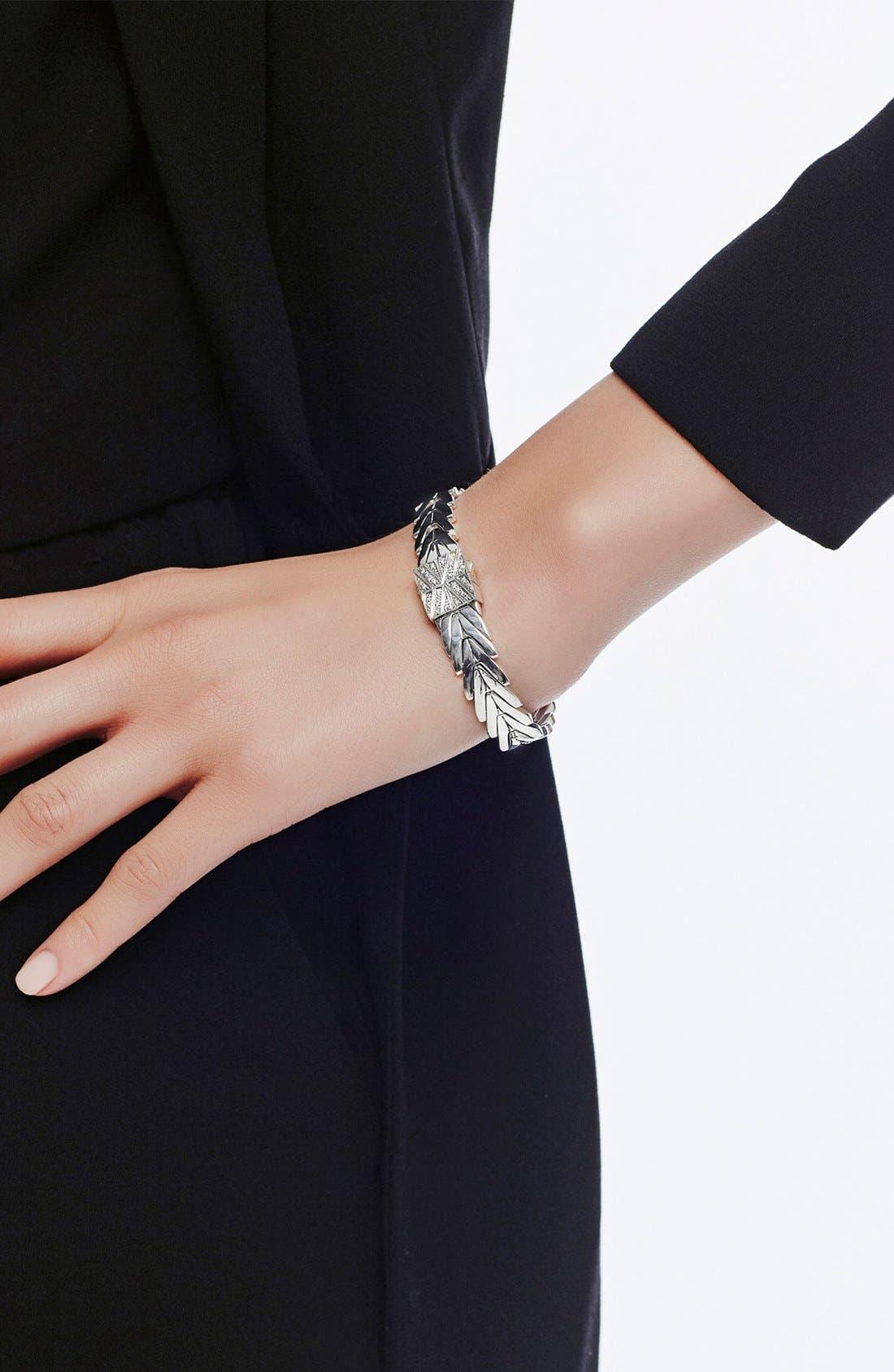 'Classic' Link Bracelet,                             Alternate thumbnail 2, color,                             Silver/Diamond