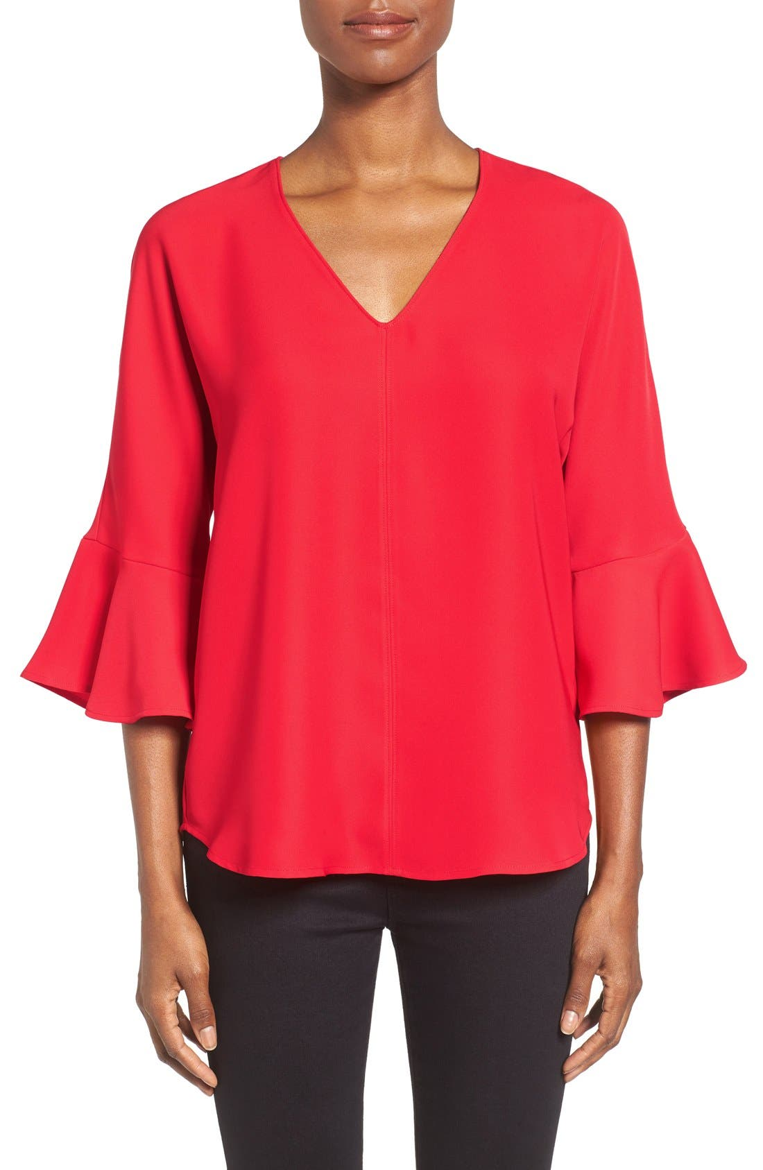 Alternate Image 1 Selected - Pleione Bell Sleeve V-Neck Top