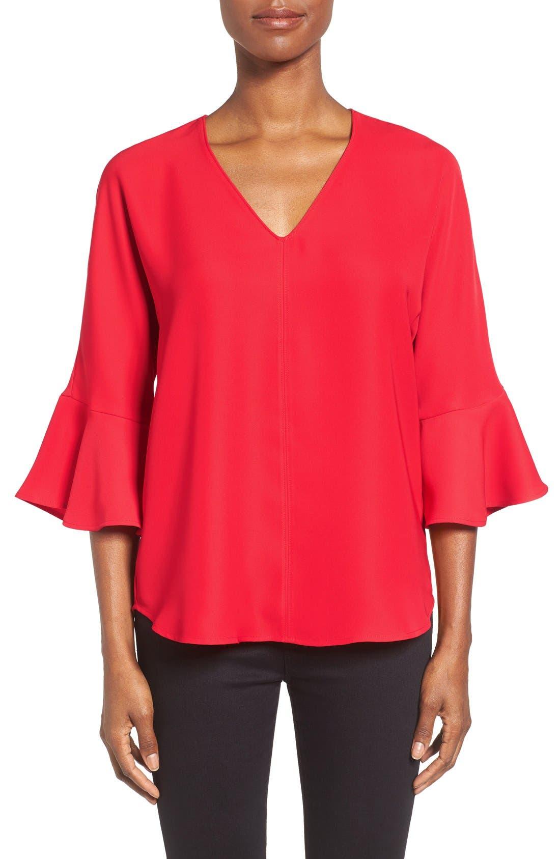 Bell Sleeve V-Neck Top,                         Main,                         color, Red Pepper