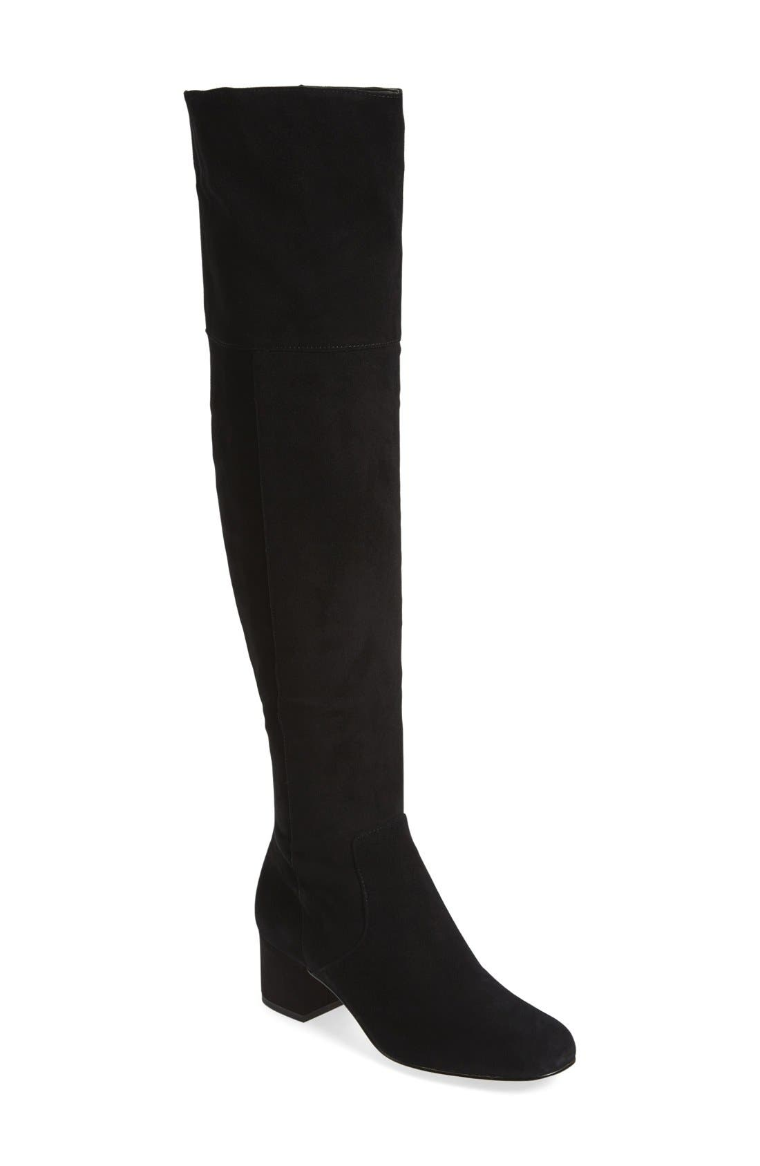 'Elina' Over the Knee Boot,                         Main,                         color, Black Suede Leather