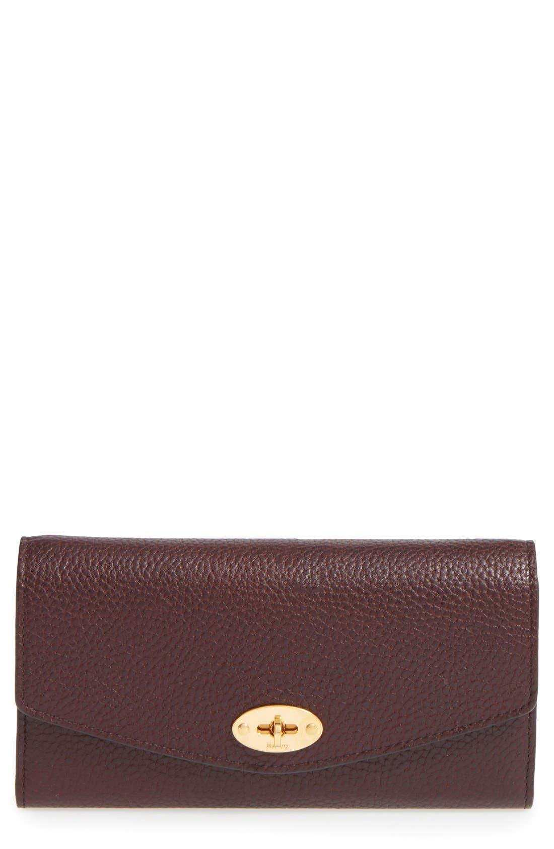'Postman's Lock' Leather Wallet,                         Main,                         color, Oxblood