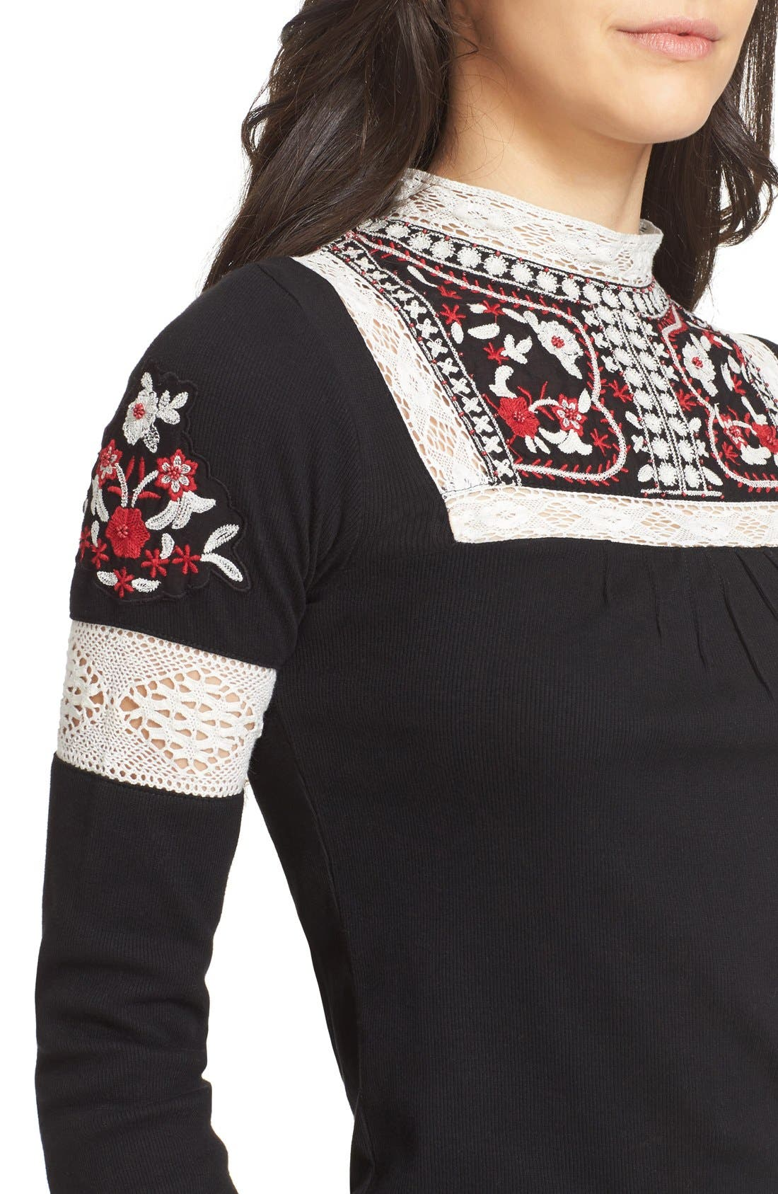 Alternate Image 4  - Free People Cozy On Up Embroidered Top