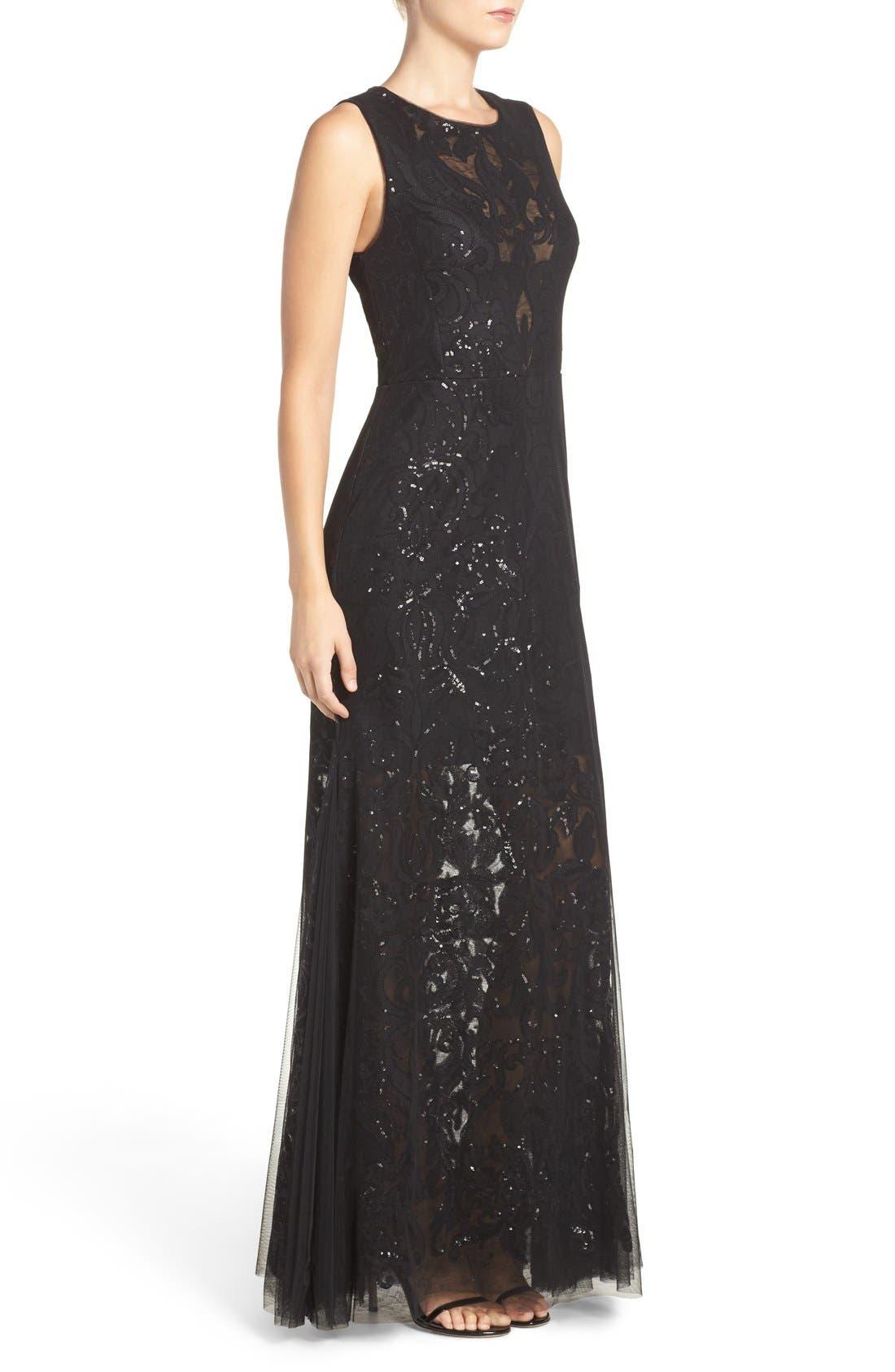 Sequin Lace & Tulle Gown,                             Alternate thumbnail 3, color,                             Black