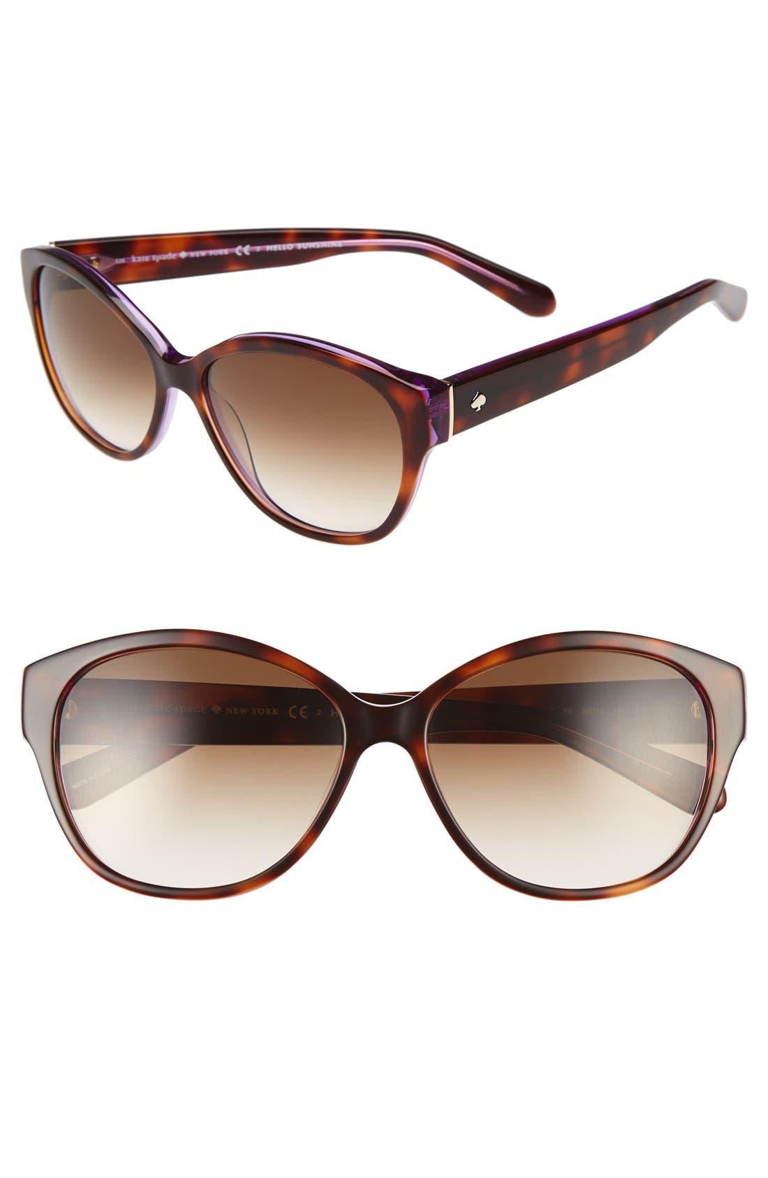 'kiersten' 56mm cat eye sunglasses,                         Main,                         color, Purple Tortoise