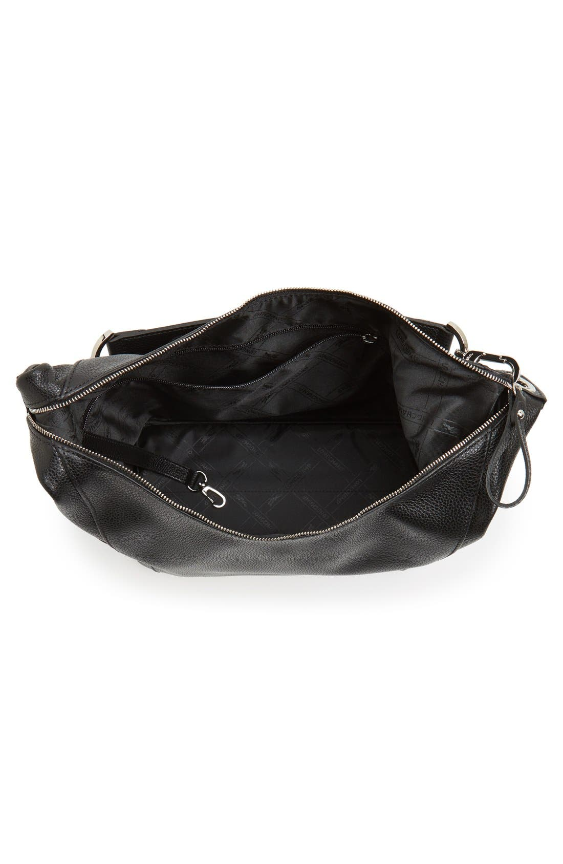 'Le Foulonne' Leather Hobo Bag,                             Alternate thumbnail 4, color,                             Black