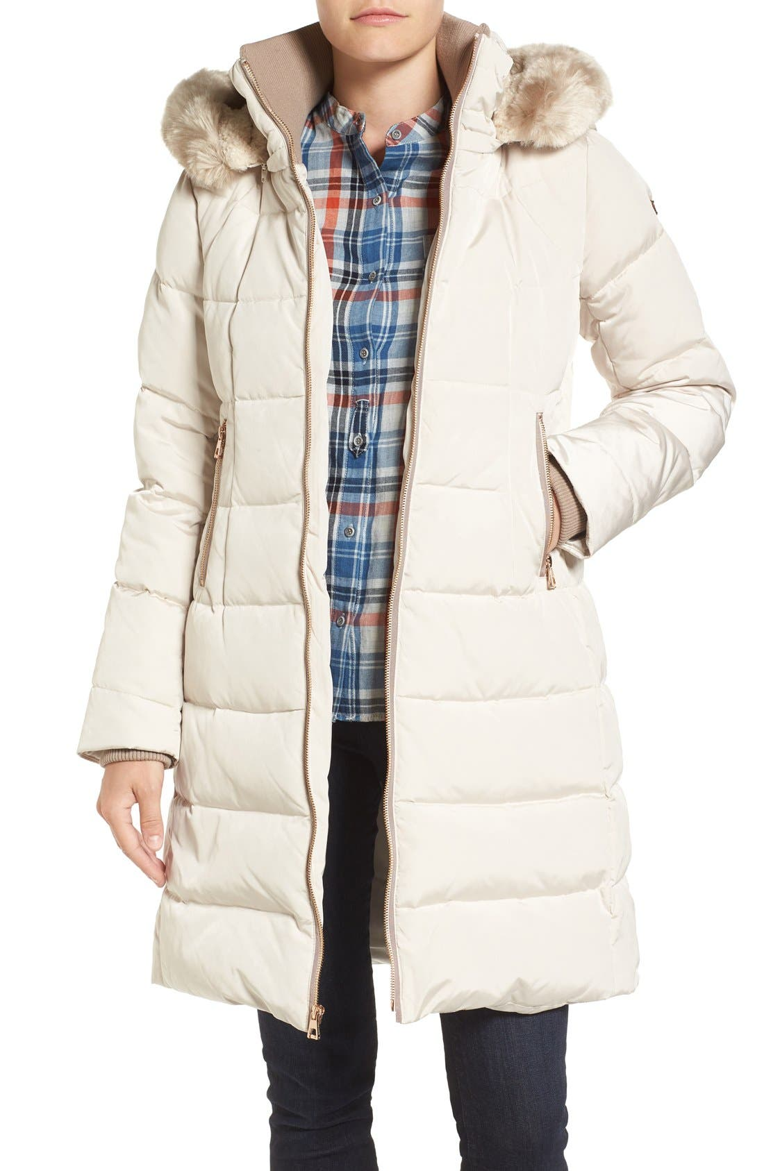 Down & Feather Fill Coat with Faux Fur Trim Hood,                             Main thumbnail 1, color,                             Stone