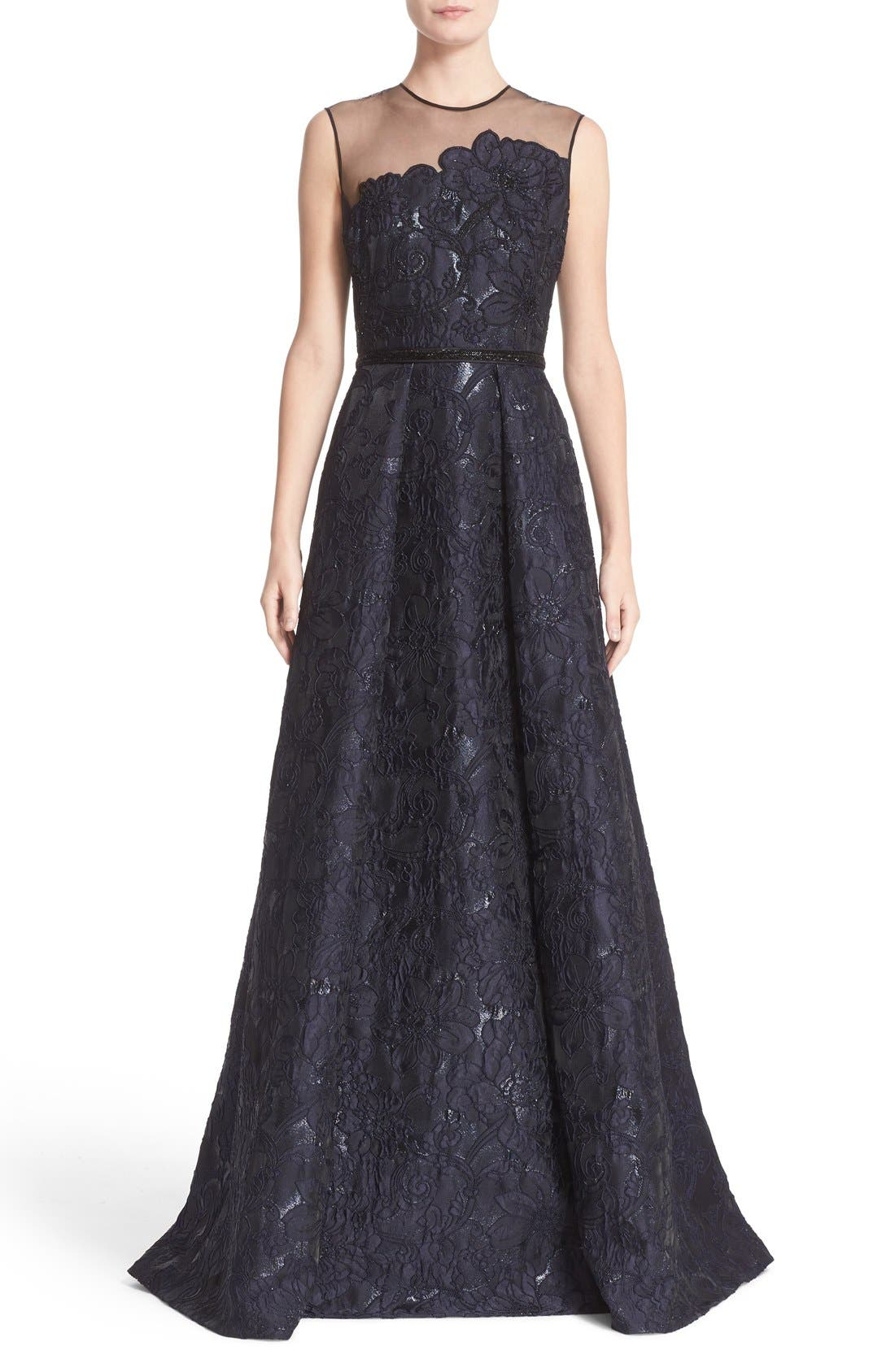 Illusion Yoke Embroidered Jacquard A-Line Gown,                         Main,                         color, Midnight