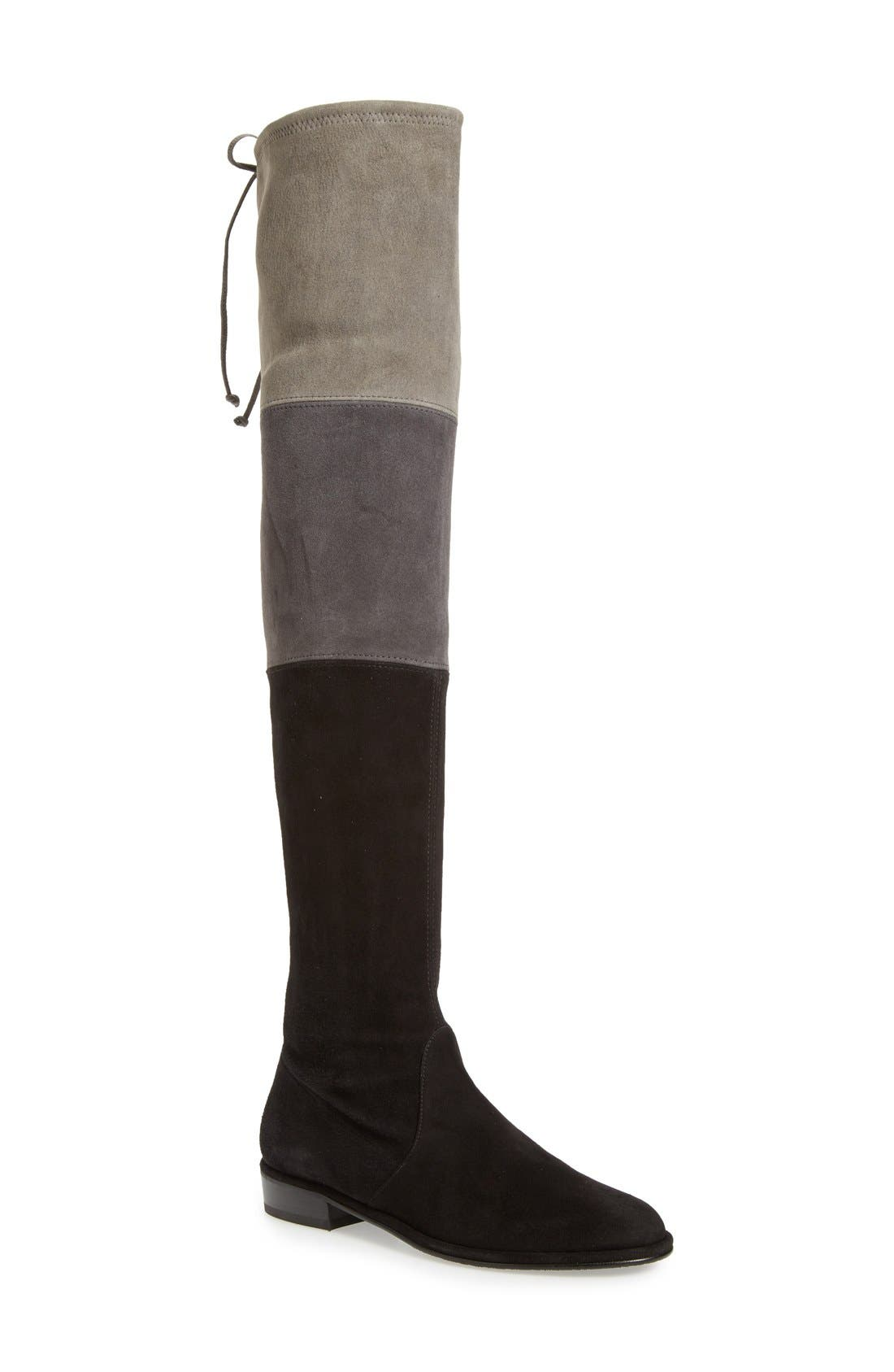 'Trio' Over the Knee Boot,                             Main thumbnail 1, color,                             Black Suede