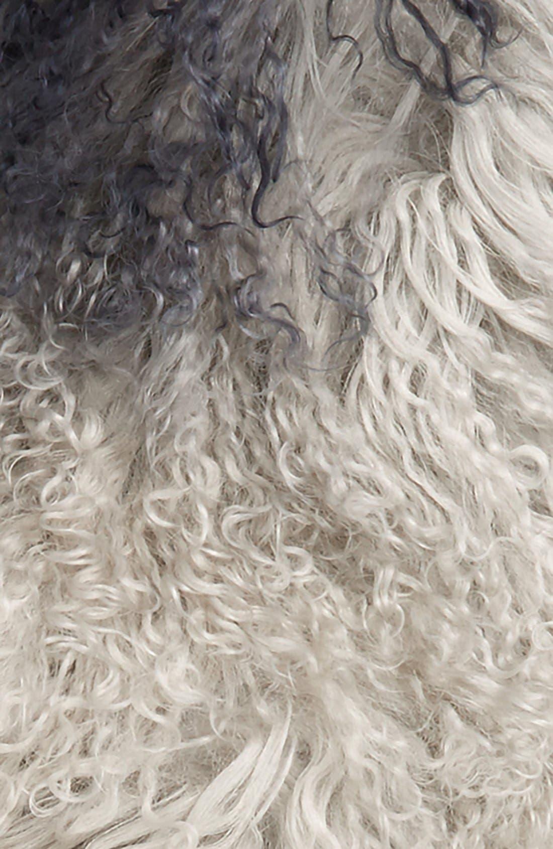 Genuine Mongolian Lamb Fur Scarf,                             Alternate thumbnail 3, color,                             Ombre Grey/ Black