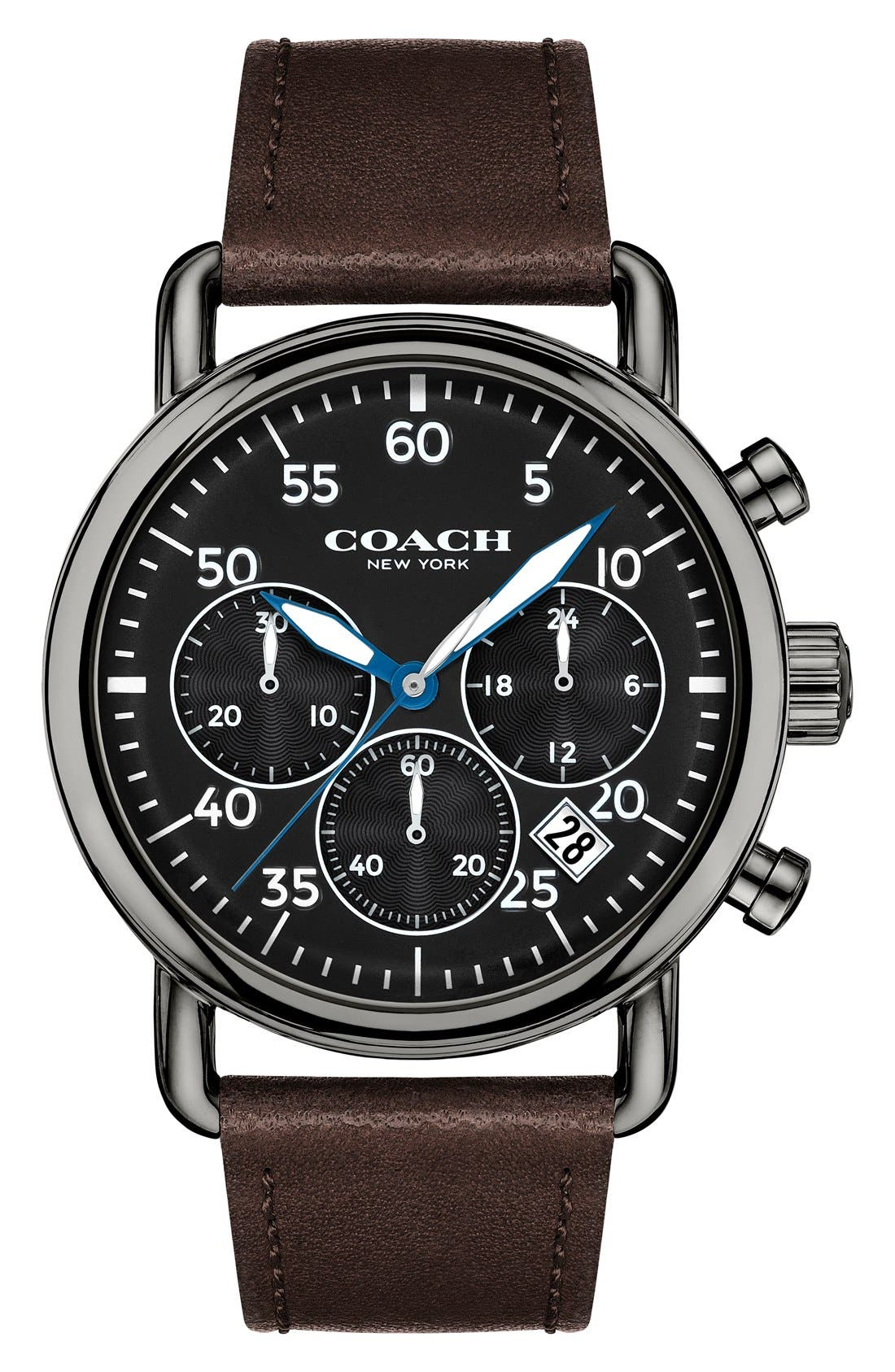 COACH Delancey Chronograph Leather Strap Watch, 42mm