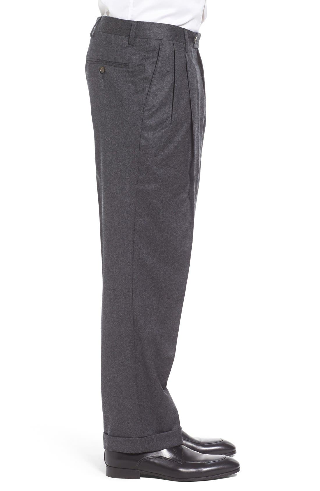 Pleated Solid Wool Trousers,                             Alternate thumbnail 3, color,                             Medium Grey