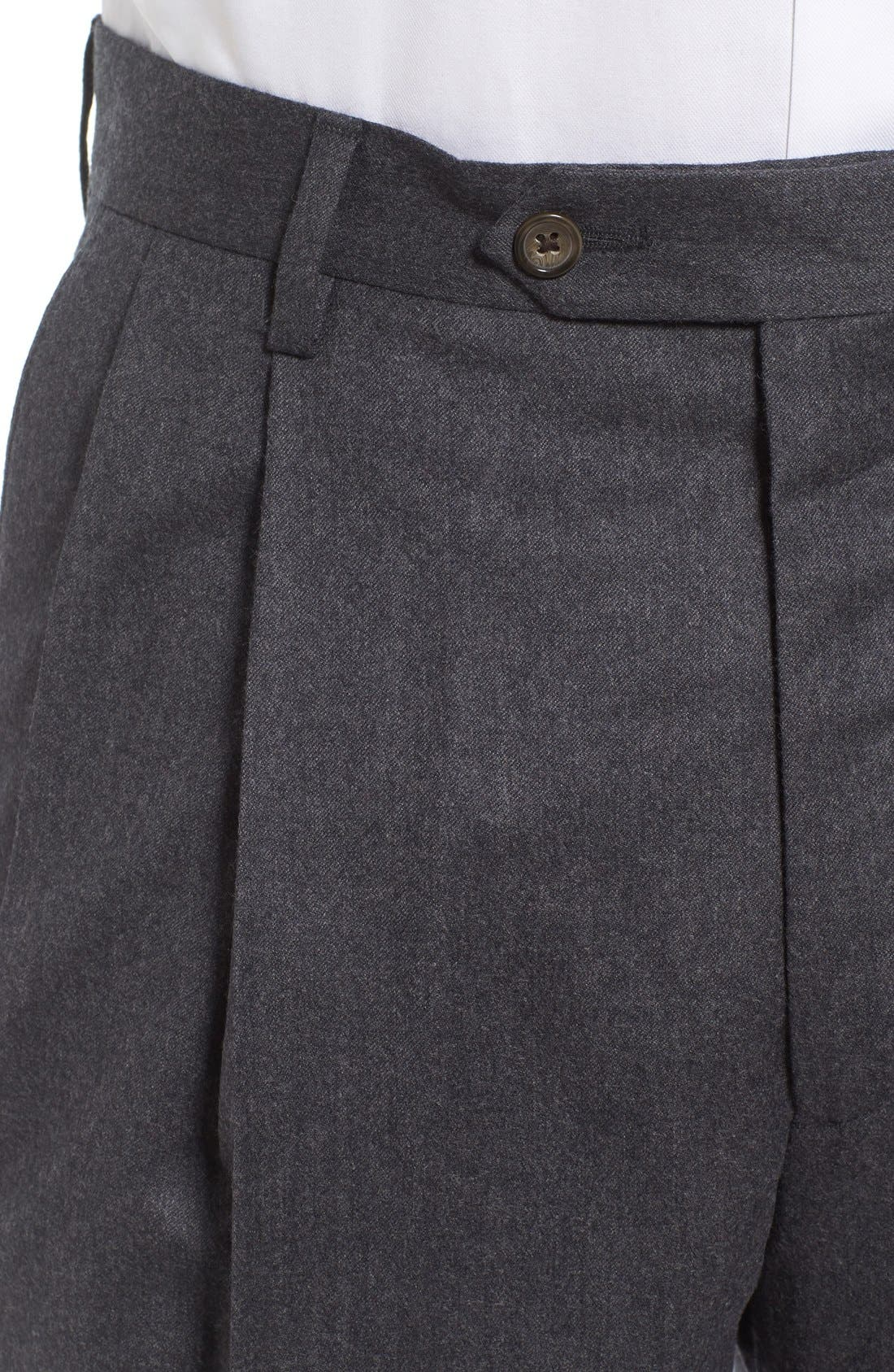 Pleated Solid Wool Trousers,                             Alternate thumbnail 4, color,                             Medium Grey