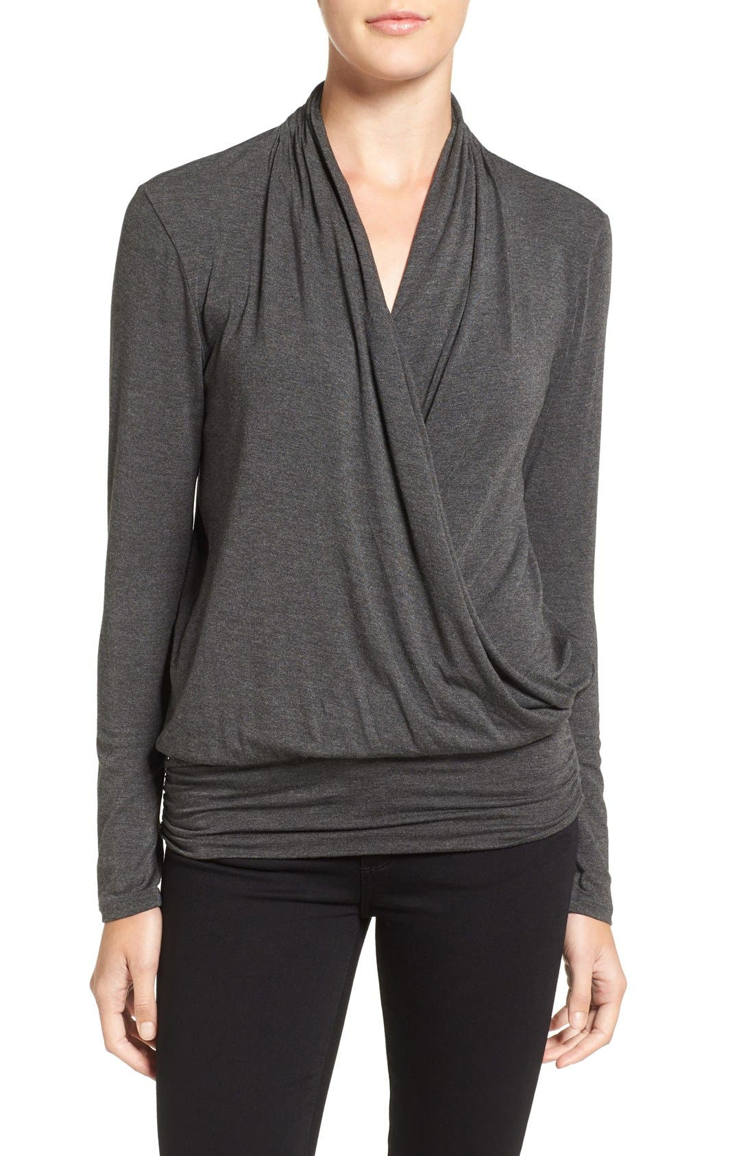 'Angela' Long Sleeve Wrap Front Top,                         Main,                         color, Anthracite