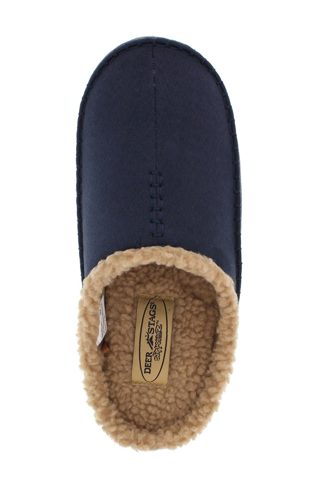 'Nordic' Slipper,                             Alternate thumbnail 3, color,                             Navy Microsuede