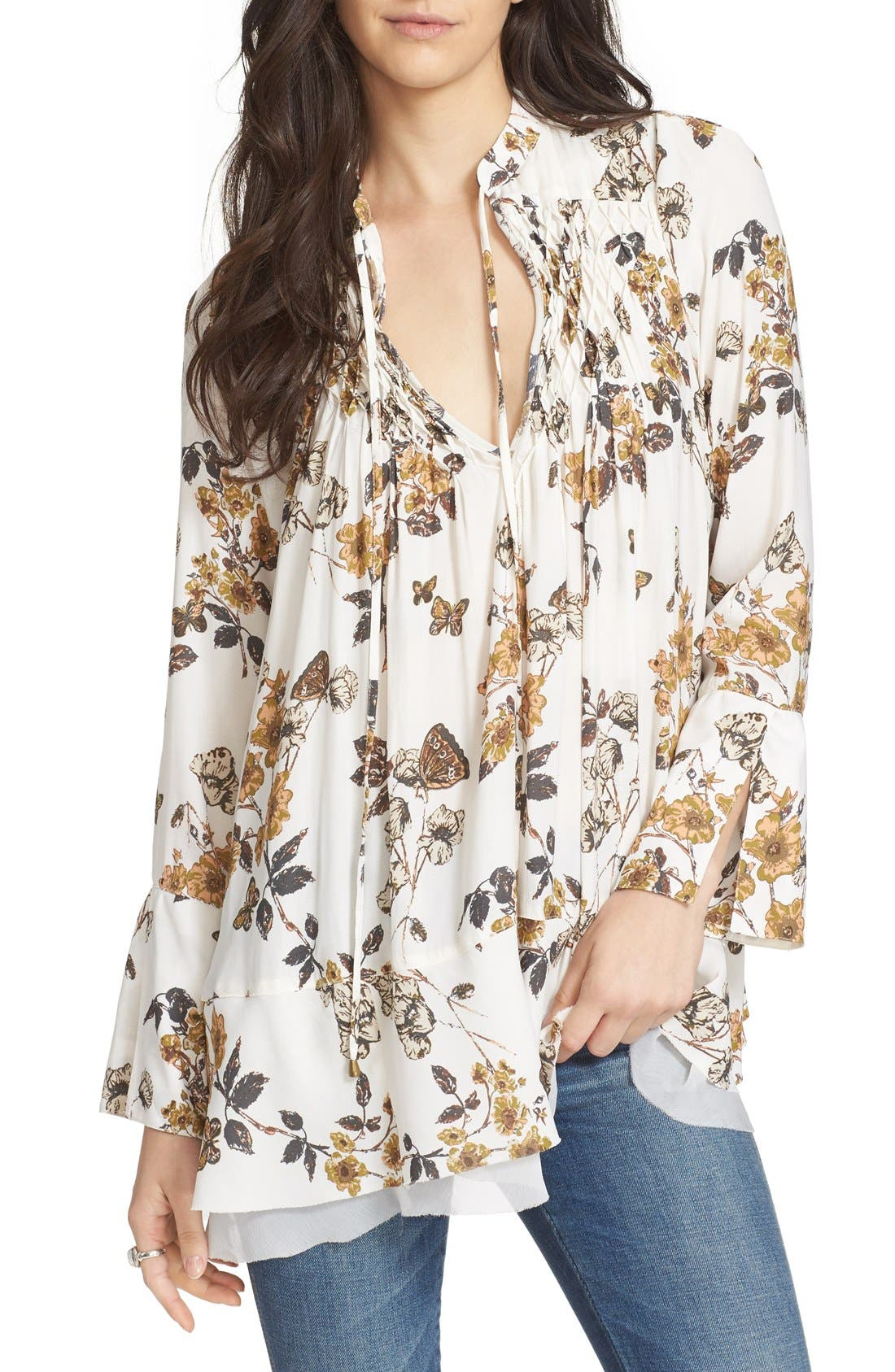 Floral Print Smocked Tunic,                         Main,                         color, Ivory Combo
