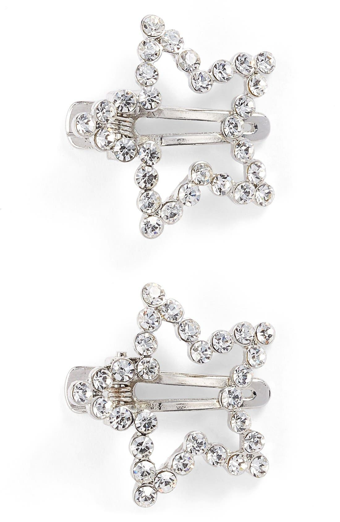 'Twinkle' Star Hair Clips,                             Main thumbnail 1, color,                             Silver