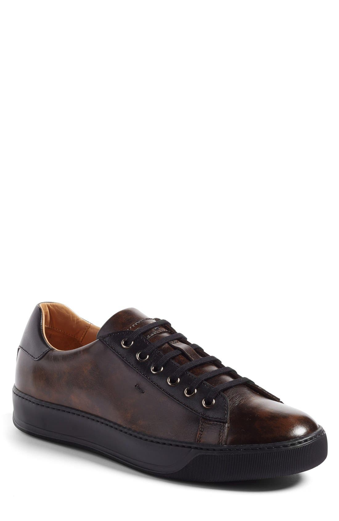 'Apache' Lace-Up Sneaker,                             Main thumbnail 1, color,                             Dark Brown Leather