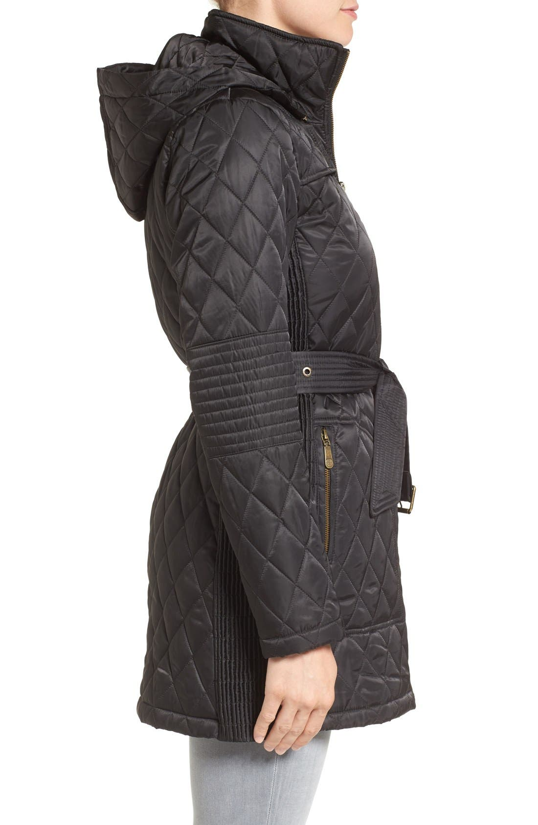 Belted Mixed Quilted Coat with Detachable Hood,                             Alternate thumbnail 3, color,                             Black