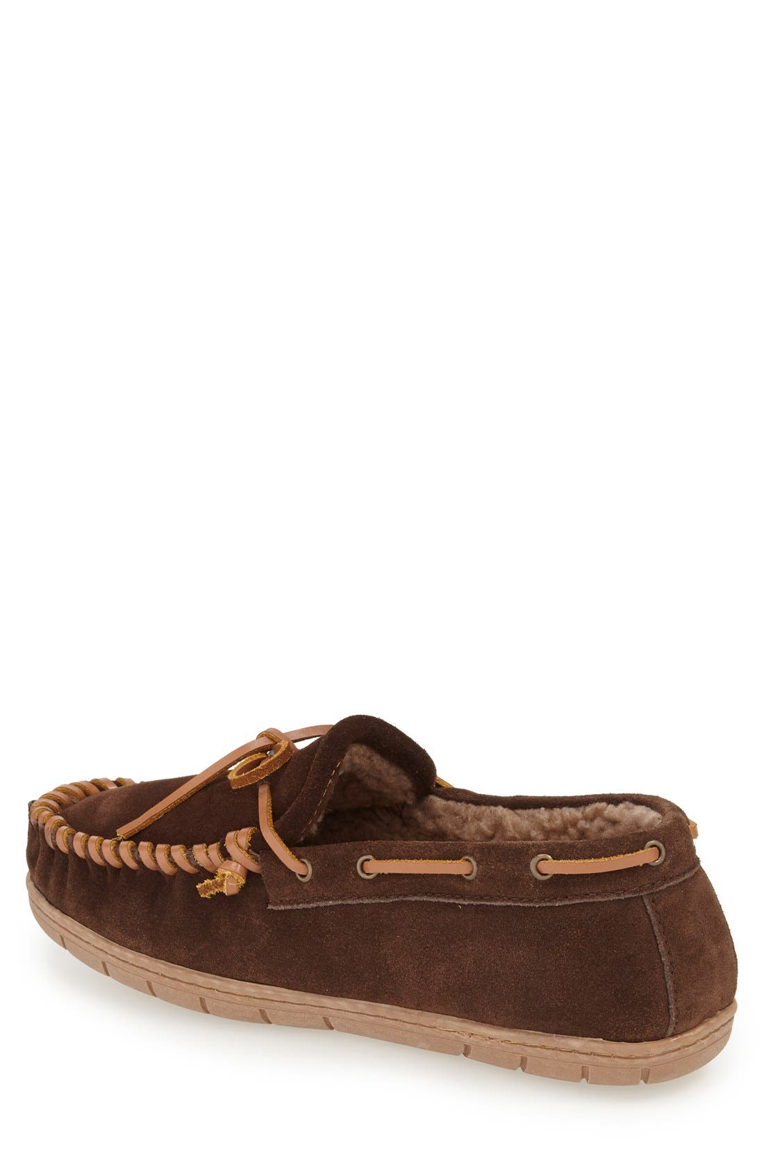 'Courier' Moccasin Slipper,                             Alternate thumbnail 2, color,                             Chocolate Suede