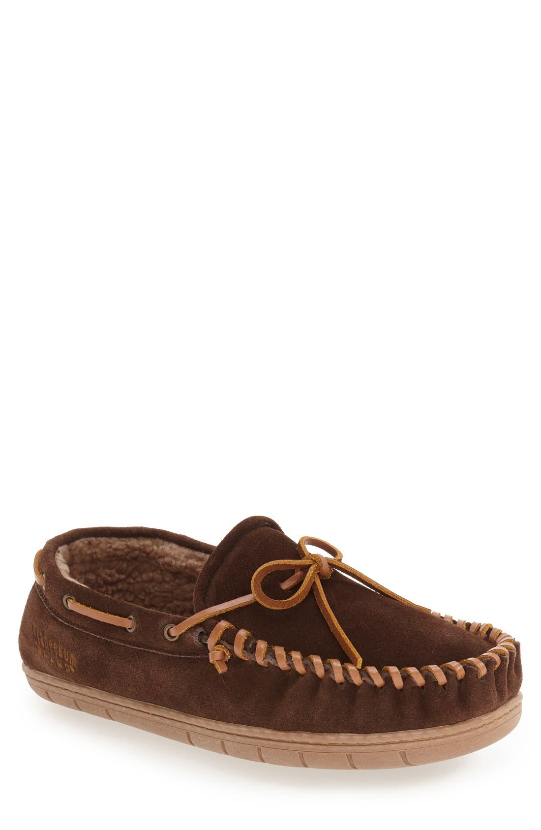 'Courier' Moccasin Slipper,                             Main thumbnail 1, color,                             Chocolate Suede