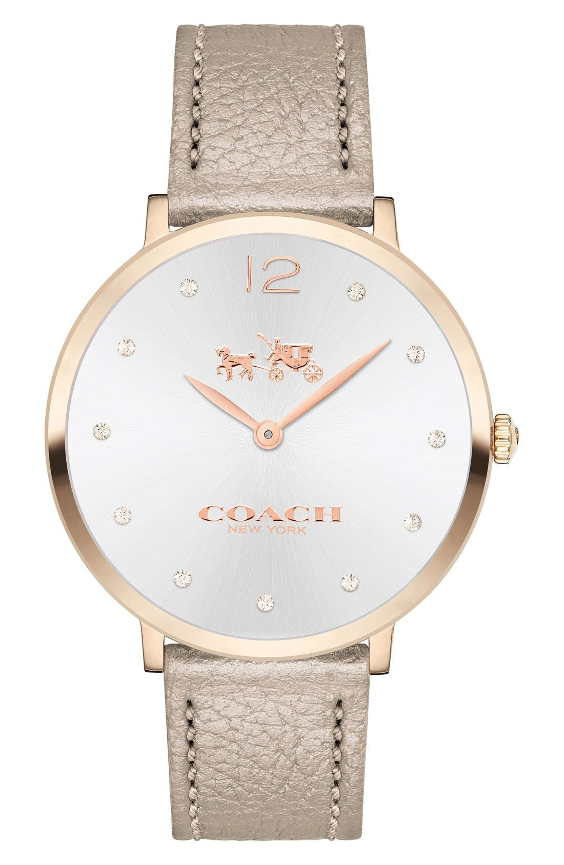 COACH 'Slim Easton' Leather Strap Watch, 35mm