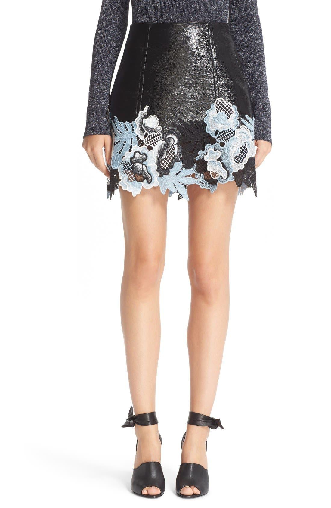 Alternate Image 1 Selected - 3.1 Phillip Lim Lace Trim Crinkle Patent Vinyl Skirt