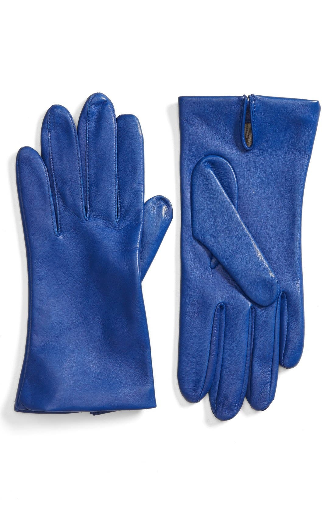 Short Leather Gloves,                         Main,                         color, Electric Blue