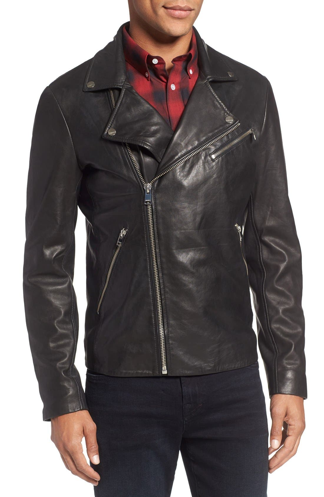 Leather Biker Jacket,                             Alternate thumbnail 4, color,                             Black