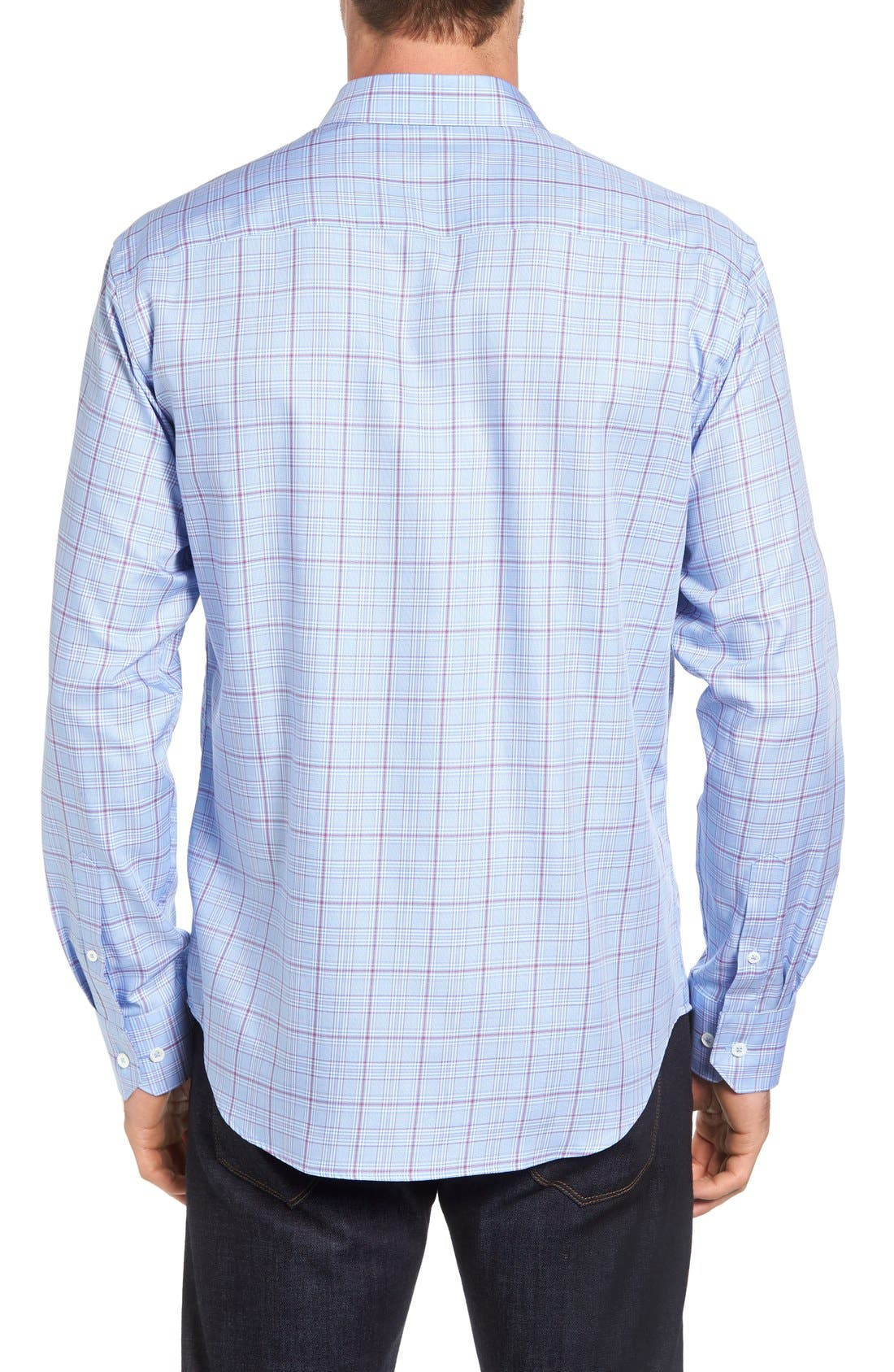 Shaped Fit Check Sport Shirt,                             Alternate thumbnail 2, color,                             Sky